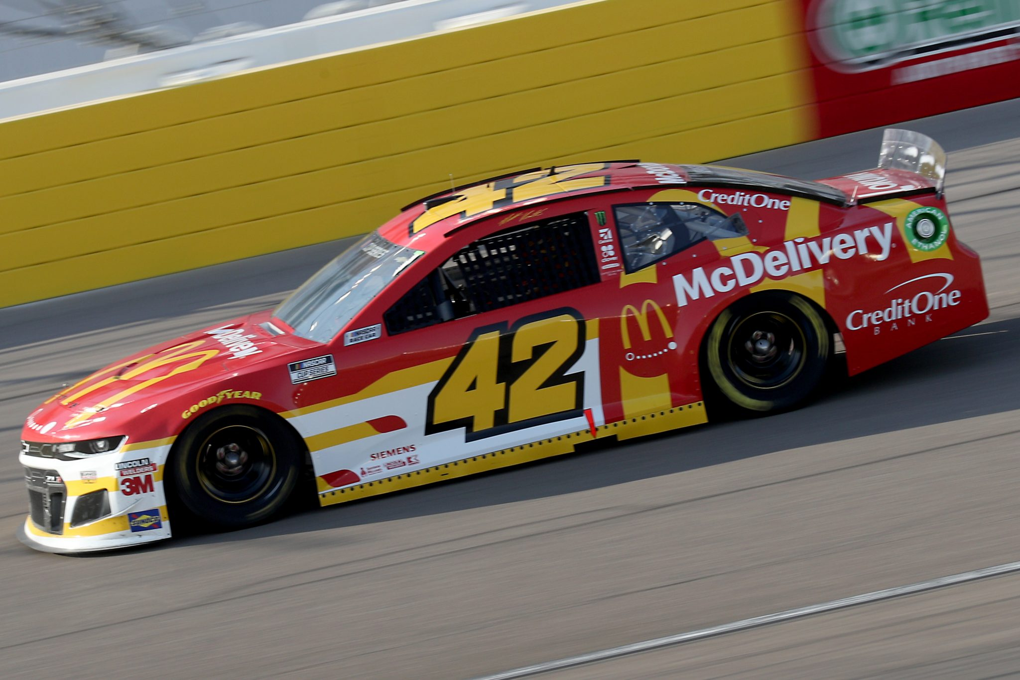 LAS VEGAS, NEVADA - SEPTEMBER 27: Matt Kenseth, driver of the #42 McDonald's Chevrolet, drives during the NASCAR Cup Series South Point 400 at Las Vegas Motor Speedway on September 27, 2020 in Las Vegas, Nevada. (Photo by Chris Graythen/Getty Images) | Getty Images