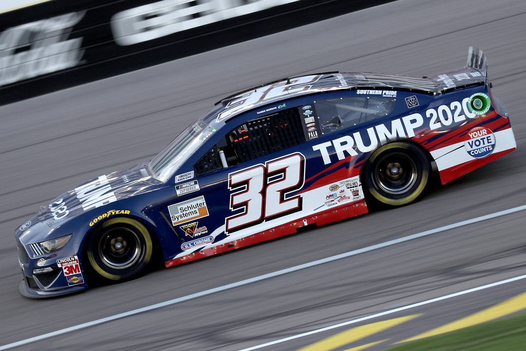 LAS VEGAS, NEVADA - SEPTEMBER 27: Corey LaJoie, driver of the #32 Trump 2020 Ford, drives during the NASCAR Cup Series South Point 400 at Las Vegas Motor Speedway on September 27, 2020 in Las Vegas, Nevada. (Photo by Chris Graythen/Getty Images) | Getty Images