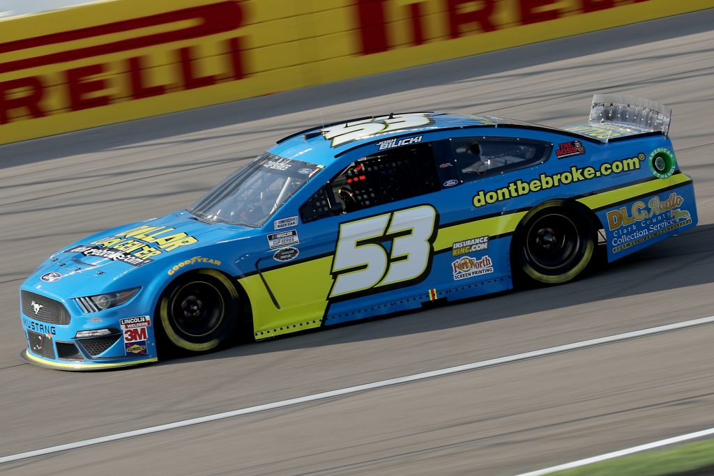 LAS VEGAS, NEVADA - SEPTEMBER 27: Josh Bilicki, driver of the #53 Chevrolet, drives during the NASCAR Cup Series South Point 400 at Las Vegas Motor Speedway on September 27, 2020 in Las Vegas, Nevada. (Photo by Chris Graythen/Getty Images) | Getty Images