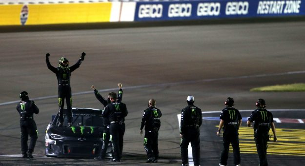 LAS VEGAS, NEVADA - SEPTEMBER 27: Kurt Busch, driver of the #1 Monster Energy Chevrolet, and crew celebrate after winning the NASCAR Cup Series South Point 400 at Las Vegas Motor Speedway on September 27, 2020 in Las Vegas, Nevada. (Photo by Brian Lawdermilk/Getty Images) | Getty Images