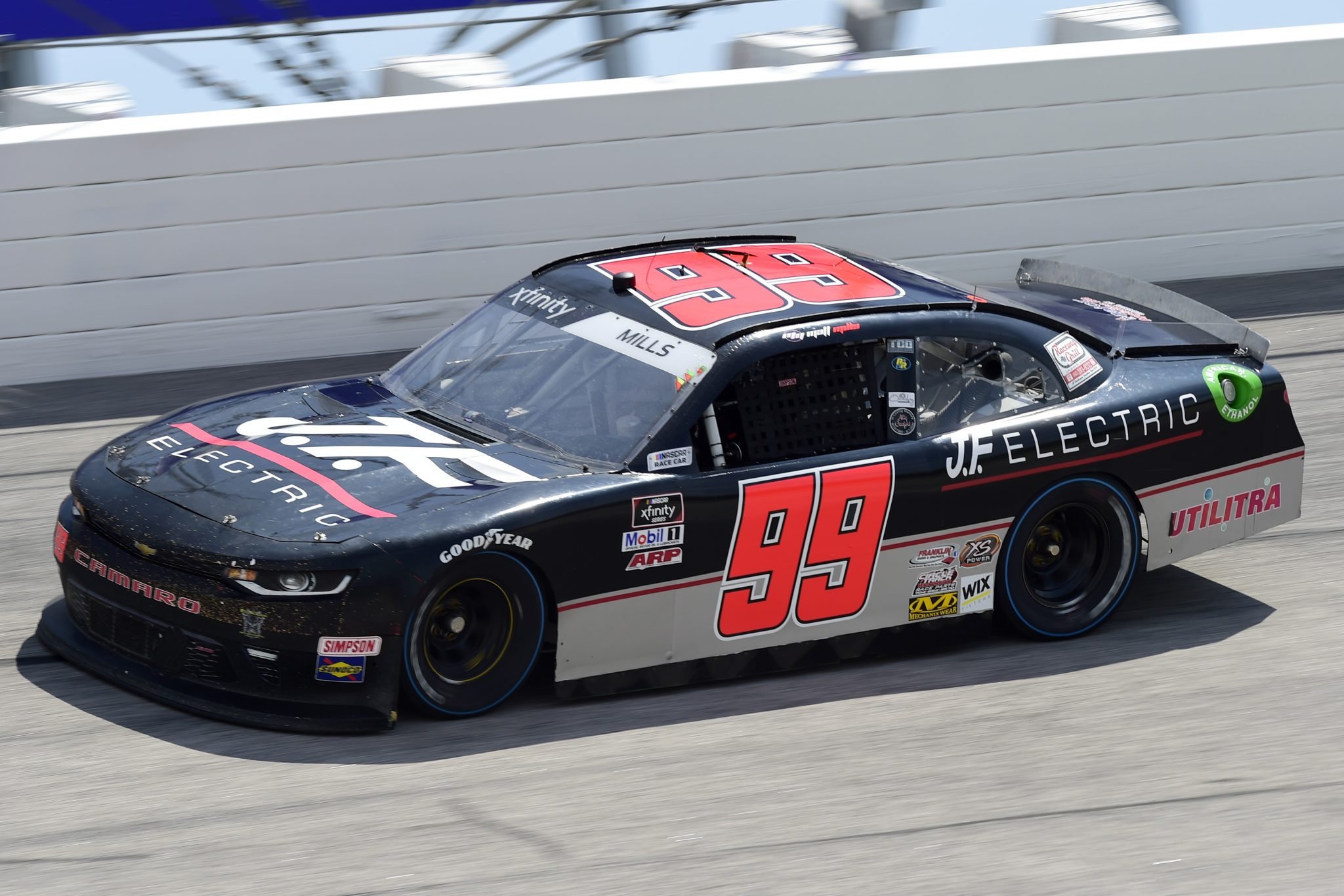 DARLINGTON, SOUTH CAROLINA - SEPTEMBER 05: Matt Mills, driver of the #99 JF Electric Toyota, drives during the NASCAR Xfinity Series Sport Clips Haircuts VFW 200 at Darlington Raceway on September 05, 2020 in Darlington, South Carolina. (Photo by Jared C. Tilton/Getty Images) | Getty Images