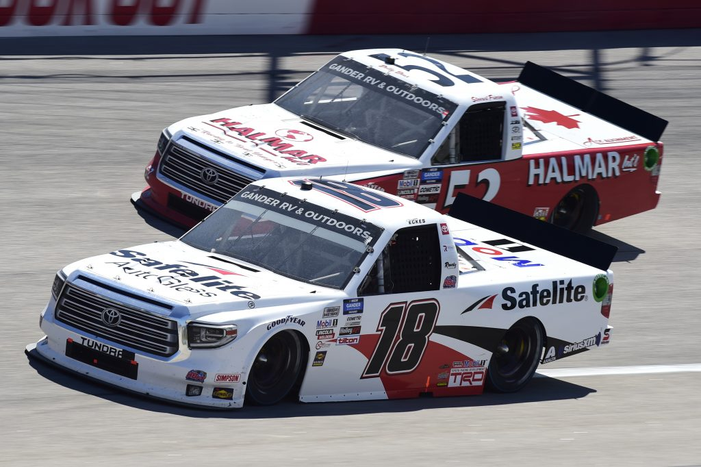 DARLINGTON, SOUTH CAROLINA - SEPTEMBER 06: Christian Eckes, driver of the #18 Safelite AutoGlass Toyota, and Stewart Friesen, driver of the #52 Halmar Racing To Beat Hunger Toyota, race during the NASCAR Gander Outdoors Truck Series South Carolina Education Lottery 200 at Darlington Raceway on September 06, 2020 in Darlington, South Carolina. (Photo by Jared C. Tilton/Getty Images) | Getty Images