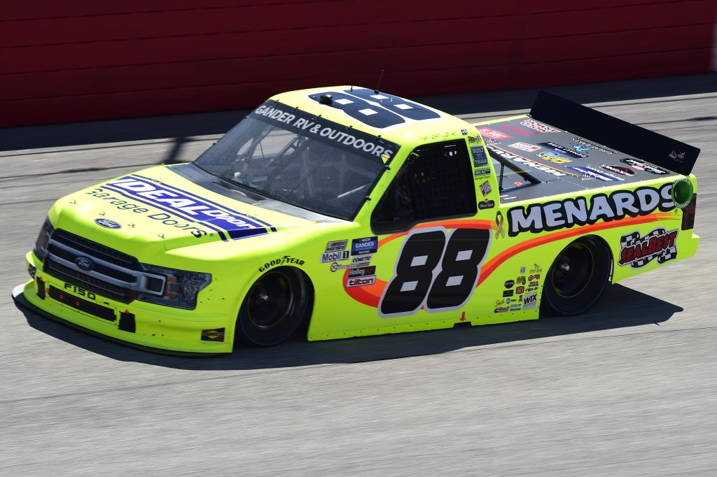 DARLINGTON, SOUTH CAROLINA - SEPTEMBER 06: Matt Crafton, driver of the #88 Ideal Door/Menards Ford, drives during the NASCAR Gander Outdoors Truck Series South Carolina Education Lottery 200 at Darlington Raceway on September 06, 2020 in Darlington, South Carolina. (Photo by Jared C. Tilton/Getty Images) | Getty Images