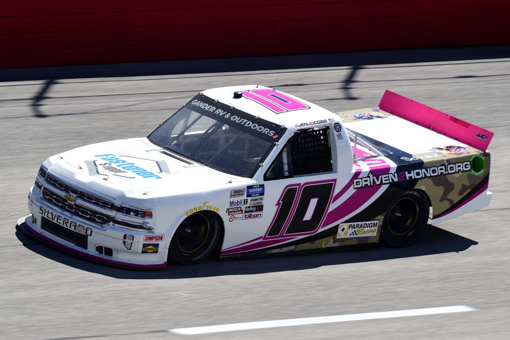 DARLINGTON, SOUTH CAROLINA - SEPTEMBER 06: Jennifer Jo Cobb, driver of the #10 Fastener Supply Company Chevrolet, drives during the NASCAR Gander Outdoors Truck Series South Carolina Education Lottery 200 at Darlington Raceway on September 06, 2020 in Darlington, South Carolina. (Photo by Jared C. Tilton/Getty Images) | Getty Images