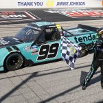 DARLINGTON, SOUTH CAROLINA - SEPTEMBER 06: Ben Rhodes, driver of the #99 Tenda Ford, celebrates after wining the NASCAR Gander Outdoors Truck Series  South Carolina Education Lottery 200 at Darlington Raceway on September 06, 2020 in Darlington, South Carolina. (Photo by Chris Keane/Getty Images) | Getty Images