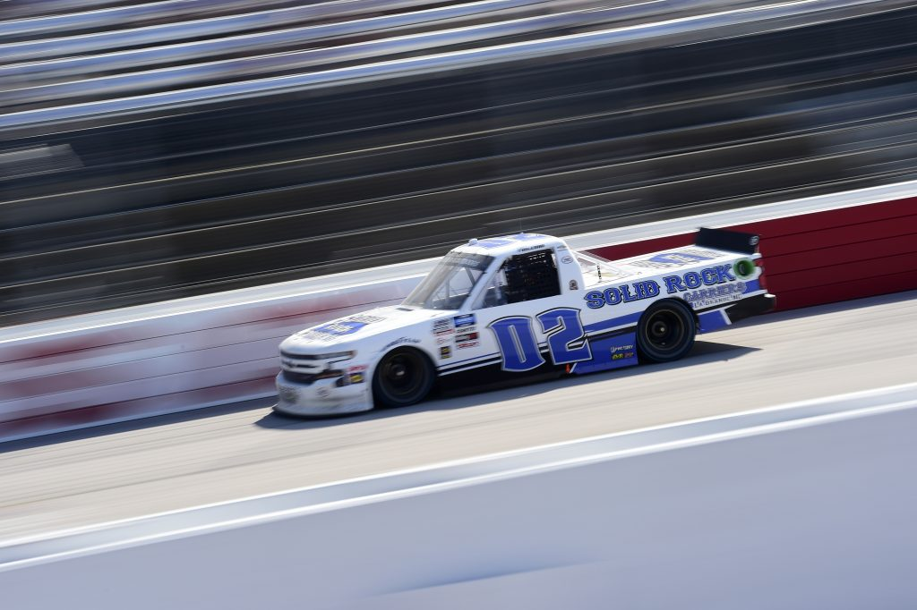 DARLINGTON, SOUTH CAROLINA - SEPTEMBER 06: Tate Fogleman, driver of the #02 Solid Rock Carriers Chevrolet, drives during the NASCAR Gander Outdoors Truck Series South Carolina Education Lottery 200 at Darlington Raceway on September 06, 2020 in Darlington, South Carolina. (Photo by Jared C. Tilton/Getty Images) | Getty Images