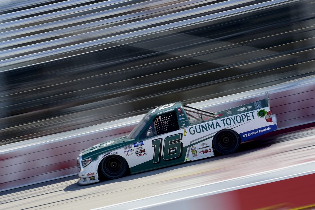 DARLINGTON, SOUTH CAROLINA - SEPTEMBER 06: Austin Hill, driver of the #16 Gunma Toyopet Toyota, drives during the NASCAR Gander Outdoors Truck Series South Carolina Education Lottery 200 at Darlington Raceway on September 06, 2020 in Darlington, South Carolina. (Photo by Jared C. Tilton/Getty Images) | Getty Images