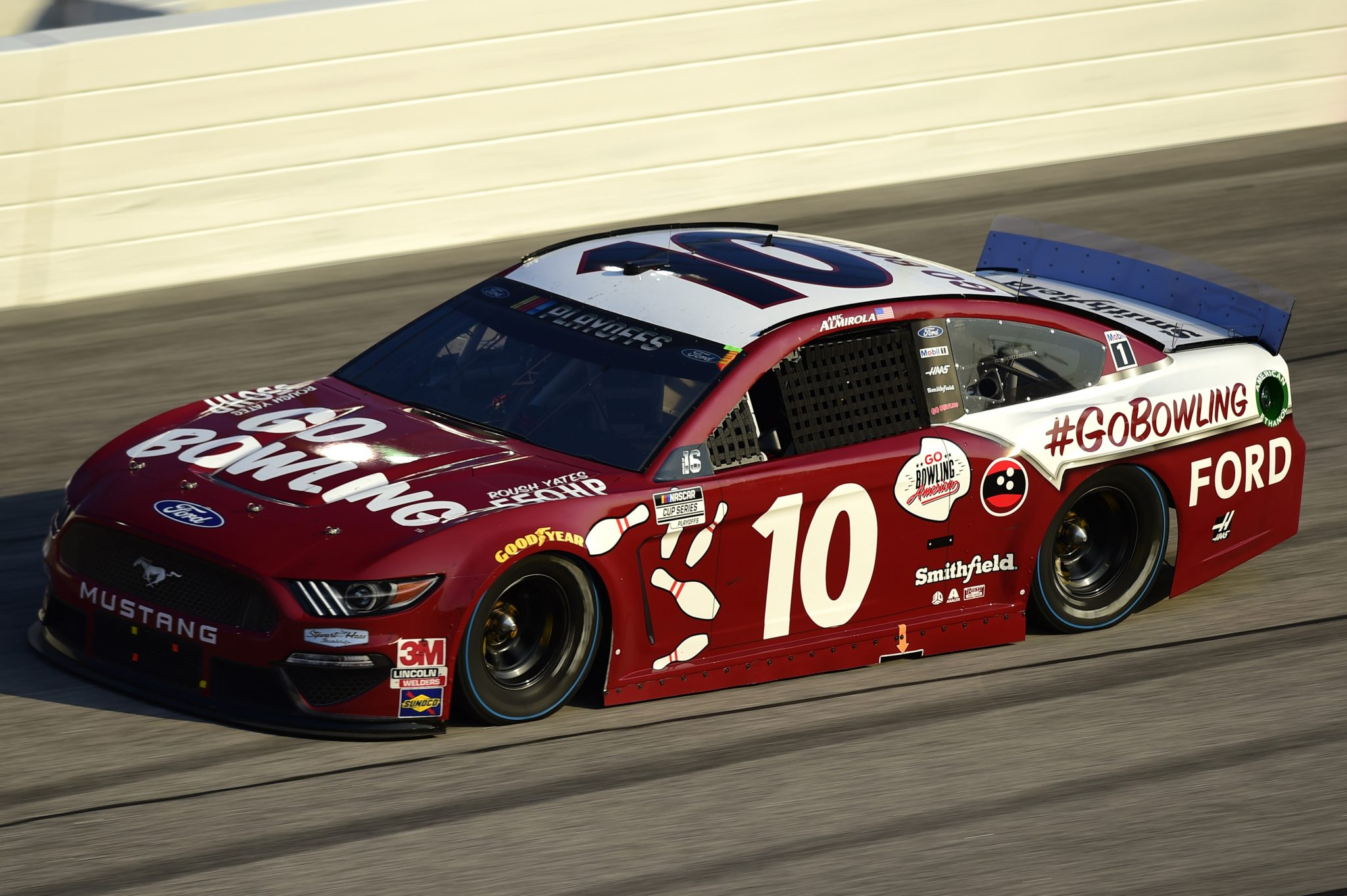 DARLINGTON, SOUTH CAROLINA - SEPTEMBER 06: Aric Almirola, driver of the #10 Go Bowling Ford, drives during the NASCAR Cup Series Cook Out Southern 500 at Darlington Raceway on September 06, 2020 in Darlington, South Carolina. (Photo by Jared C. Tilton/Getty Images) | Getty Images