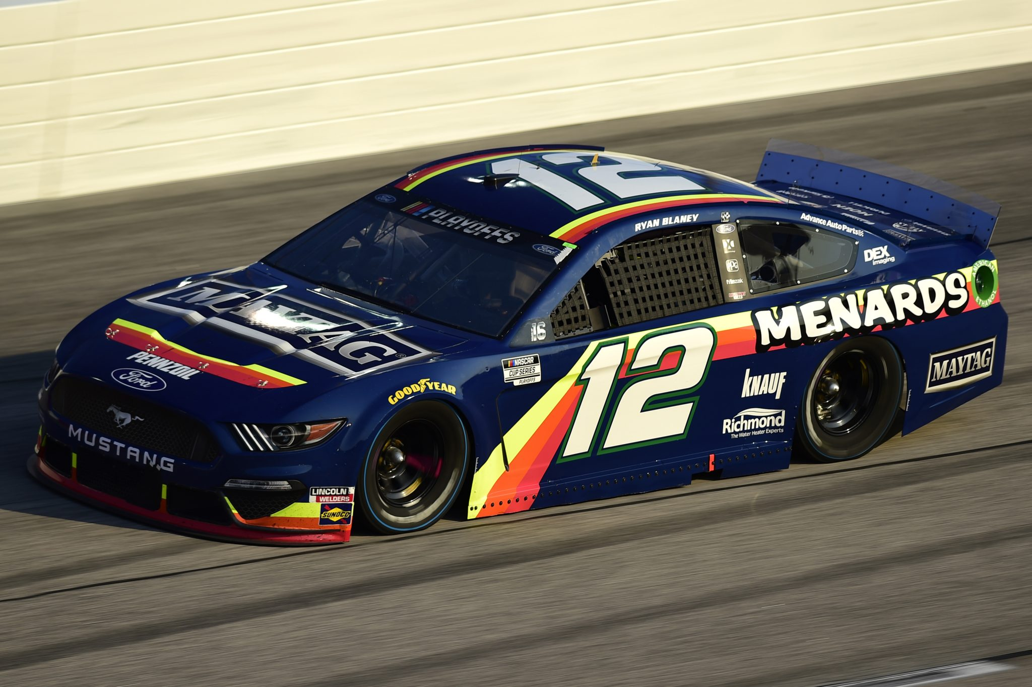 DARLINGTON, SOUTH CAROLINA - SEPTEMBER 06: Ryan Blaney, driver of the #12 Menards/Maytag Ford, drives during the NASCAR Cup Series Cook Out Southern 500 at Darlington Raceway on September 06, 2020 in Darlington, South Carolina. (Photo by Jared C. Tilton/Getty Images) | Getty Images