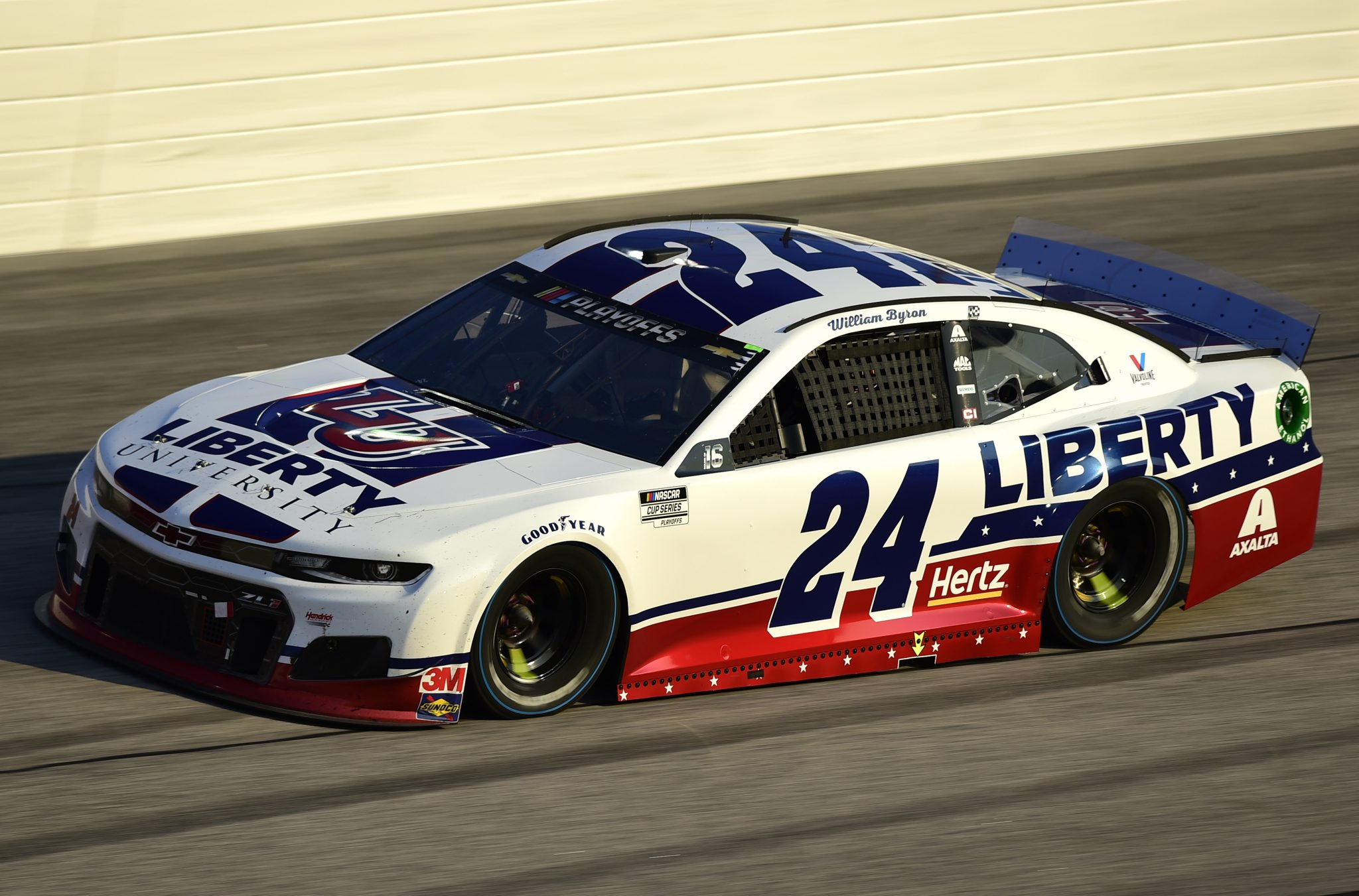 DARLINGTON, SOUTH CAROLINA - SEPTEMBER 06: William Byron, driver of the #24 Liberty Univeristy Throwback Chevrolet, drives during the NASCAR Cup Series Cook Out Southern 500 at Darlington Raceway on September 06, 2020 in Darlington, South Carolina. (Photo by Jared C. Tilton/Getty Images) | Getty Images