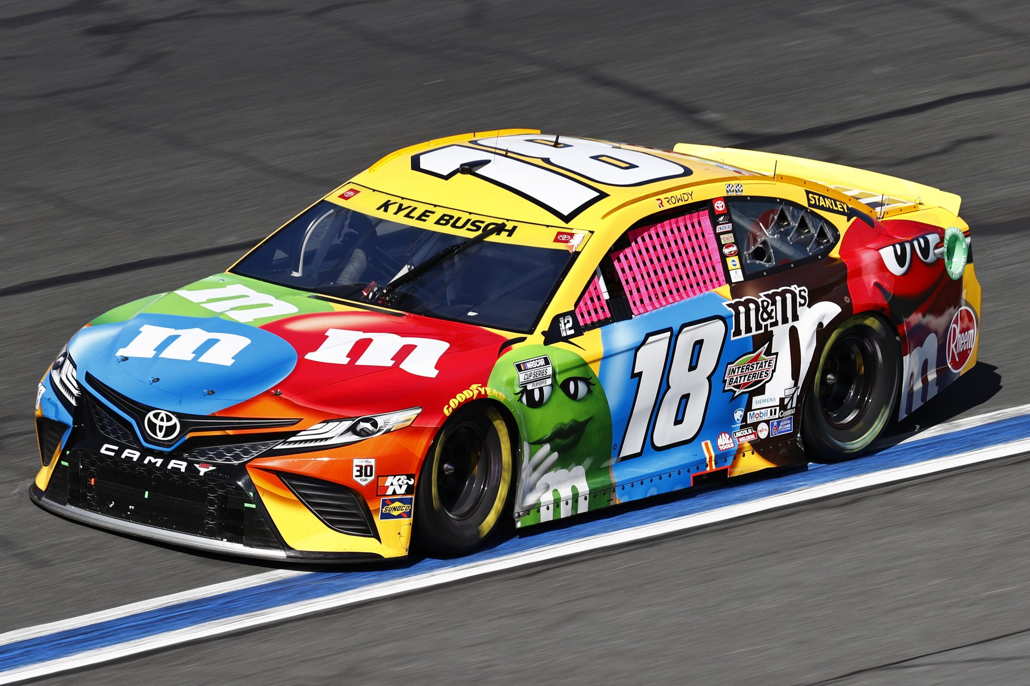 CONCORD, NORTH CAROLINA - OCTOBER 10: Kyle Busch, driver of the #18 M&M's Toyota, drives during the NASCAR Cup Series Bank of America ROVAL 400 at Charlotte Motor Speedway on October 10, 2021 in Concord, North Carolina. (Photo by Jared C. Tilton/Getty Images) | Getty Images