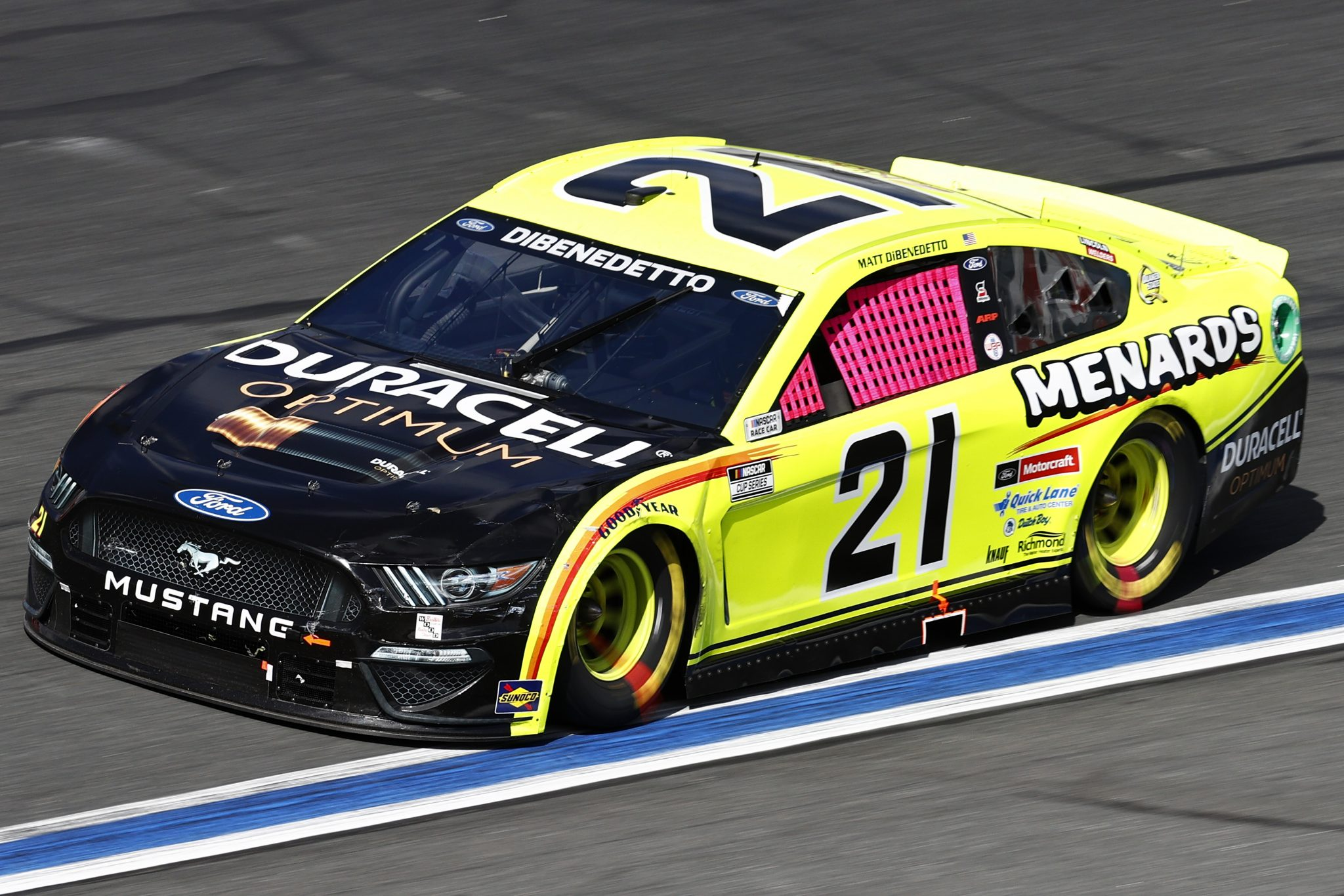 CONCORD, NORTH CAROLINA - OCTOBER 10: Matt DiBenedetto, driver of the #21 Menards/Duracell Ford, drives during the NASCAR Cup Series Bank of America ROVAL 400 at Charlotte Motor Speedway on October 10, 2021 in Concord, North Carolina. (Photo by Jared C. Tilton/Getty Images) | Getty Images