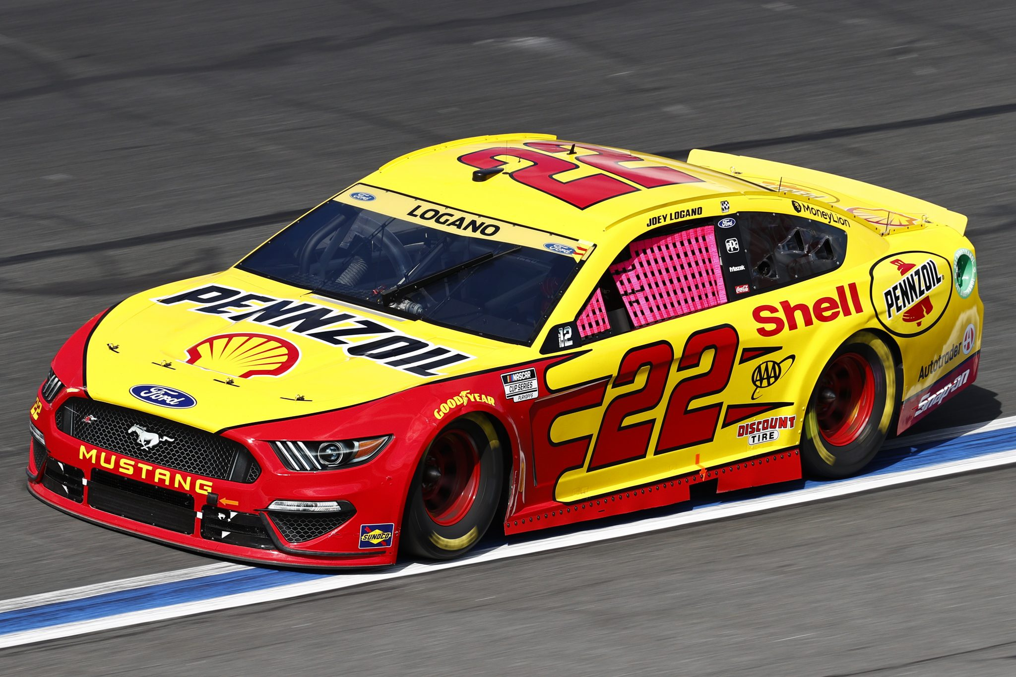 CONCORD, NORTH CAROLINA - OCTOBER 10: Joey Logano, driver of the #22 Shell Pennzoil Ford, drives during the NASCAR Cup Series Bank of America ROVAL 400 at Charlotte Motor Speedway on October 10, 2021 in Concord, North Carolina. (Photo by Jared C. Tilton/Getty Images) | Getty Images