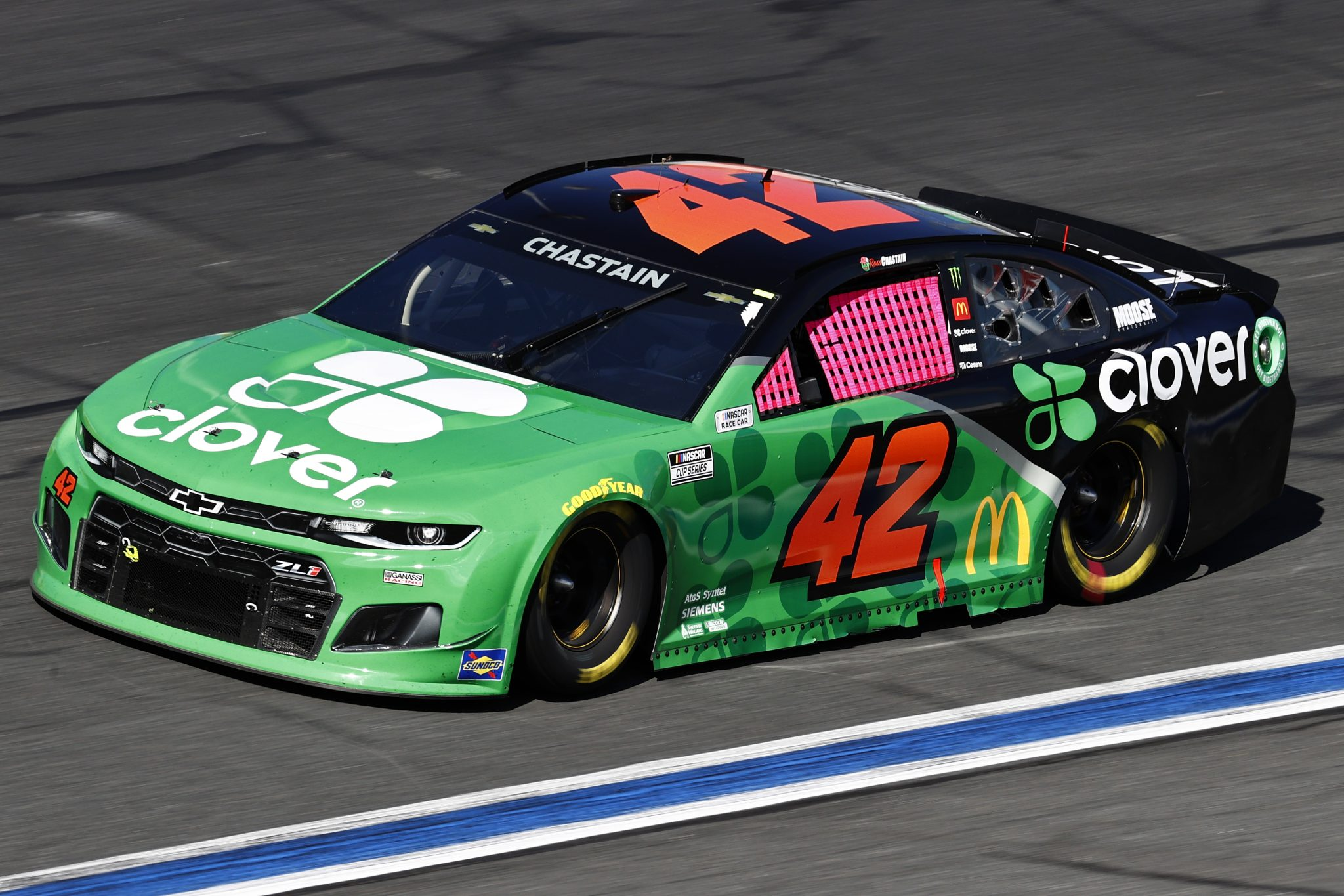 CONCORD, NORTH CAROLINA - OCTOBER 10: Ross Chastain, driver of the #42 Clover Chevrolet, drives during the NASCAR Cup Series Bank of America ROVAL 400 at Charlotte Motor Speedway on October 10, 2021 in Concord, North Carolina. (Photo by Jared C. Tilton/Getty Images) | Getty Images