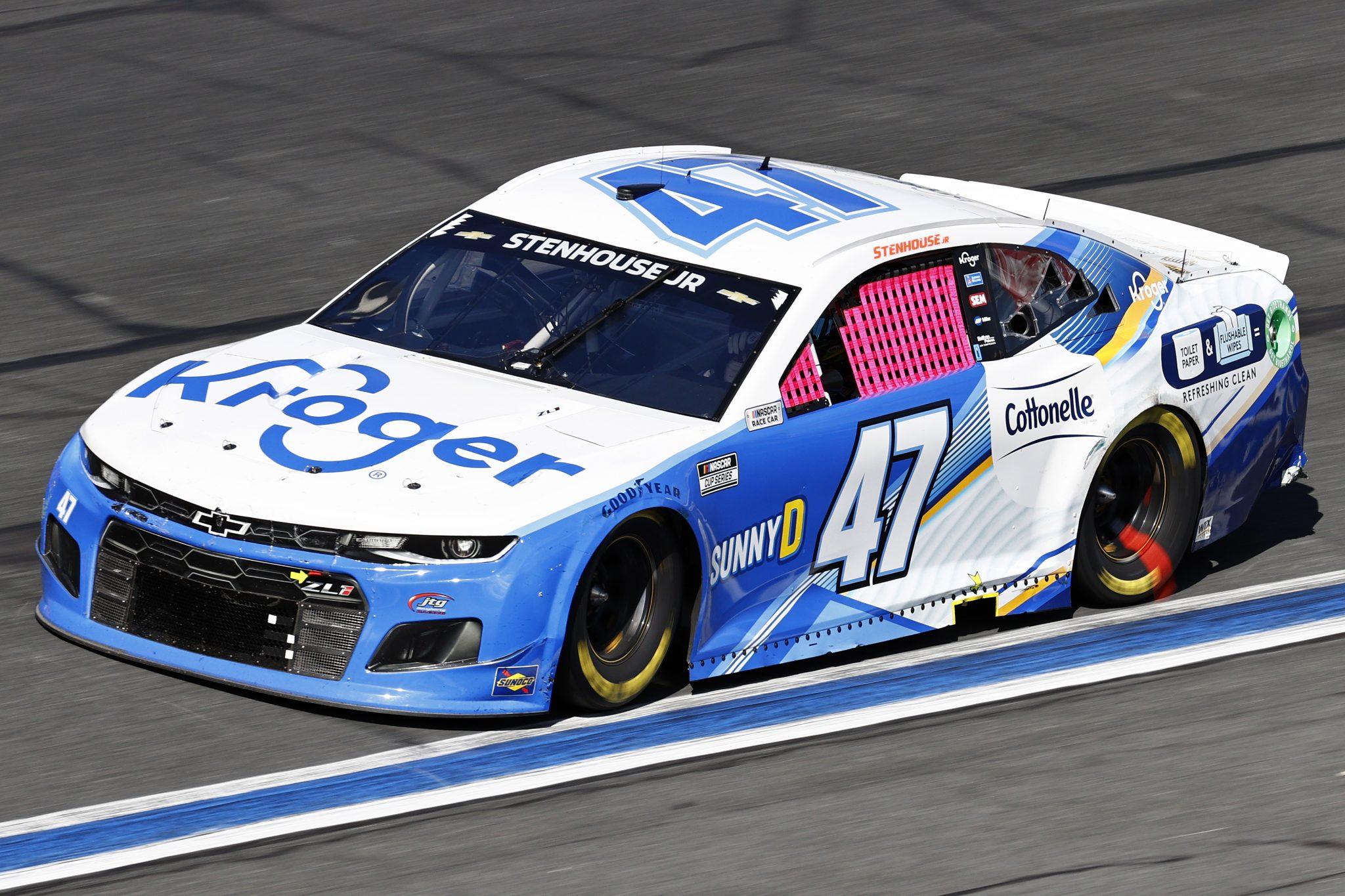 CONCORD, NORTH CAROLINA - OCTOBER 10: Ricky Stenhouse Jr., driver of the #47 Kroger/Cottonelle Chevrolet, drives during the NASCAR Cup Series Bank of America ROVAL 400 at Charlotte Motor Speedway on October 10, 2021 in Concord, North Carolina. (Photo by Jared C. Tilton/Getty Images) | Getty Images