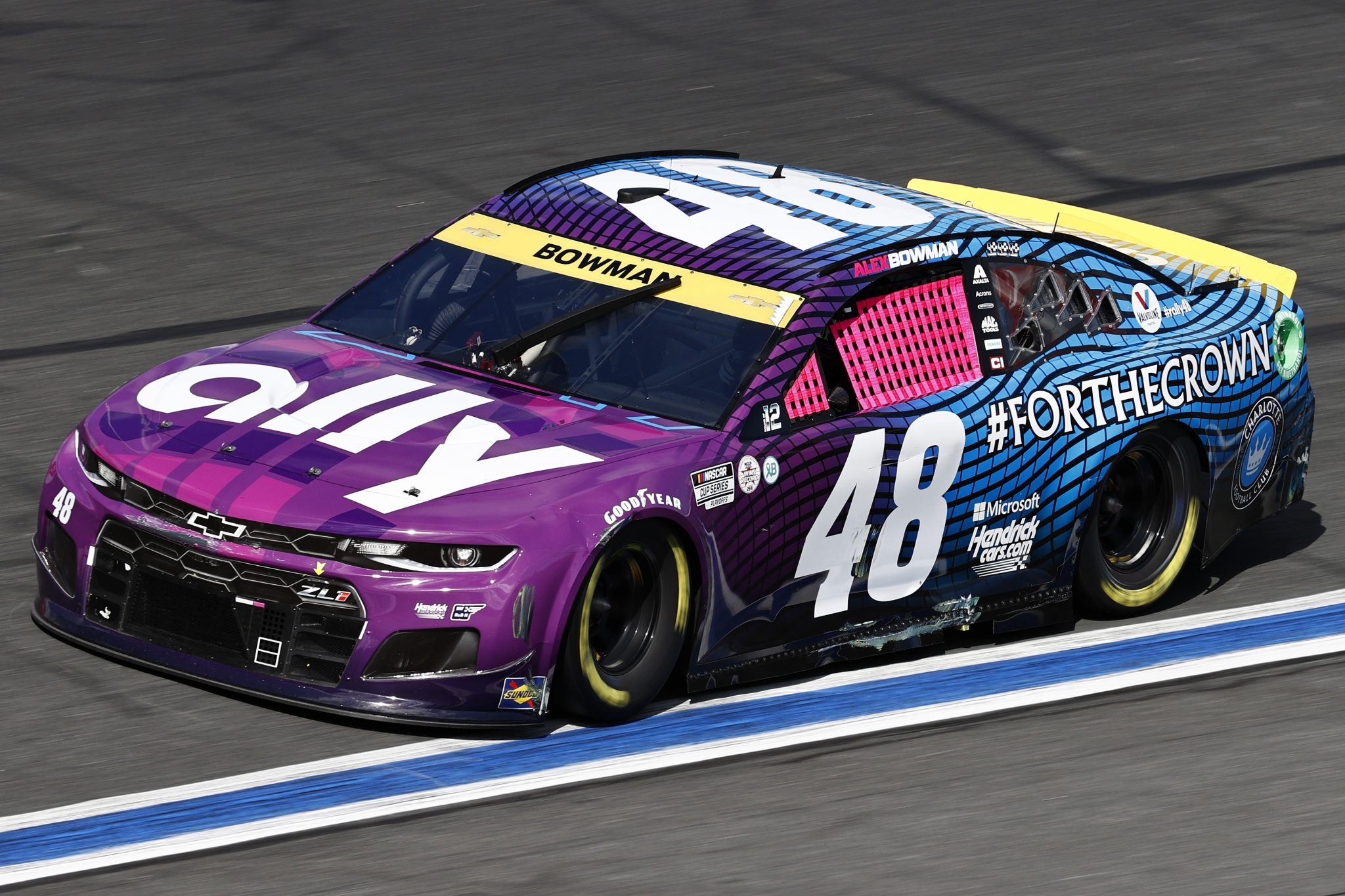 CONCORD, NORTH CAROLINA - OCTOBER 10: Alex Bowman, driver of the #48 Ally x Charlotte FC Chevrolet, drives during the NASCAR Cup Series Bank of America ROVAL 400 at Charlotte Motor Speedway on October 10, 2021 in Concord, North Carolina. (Photo by Jared C. Tilton/Getty Images) | Getty Images