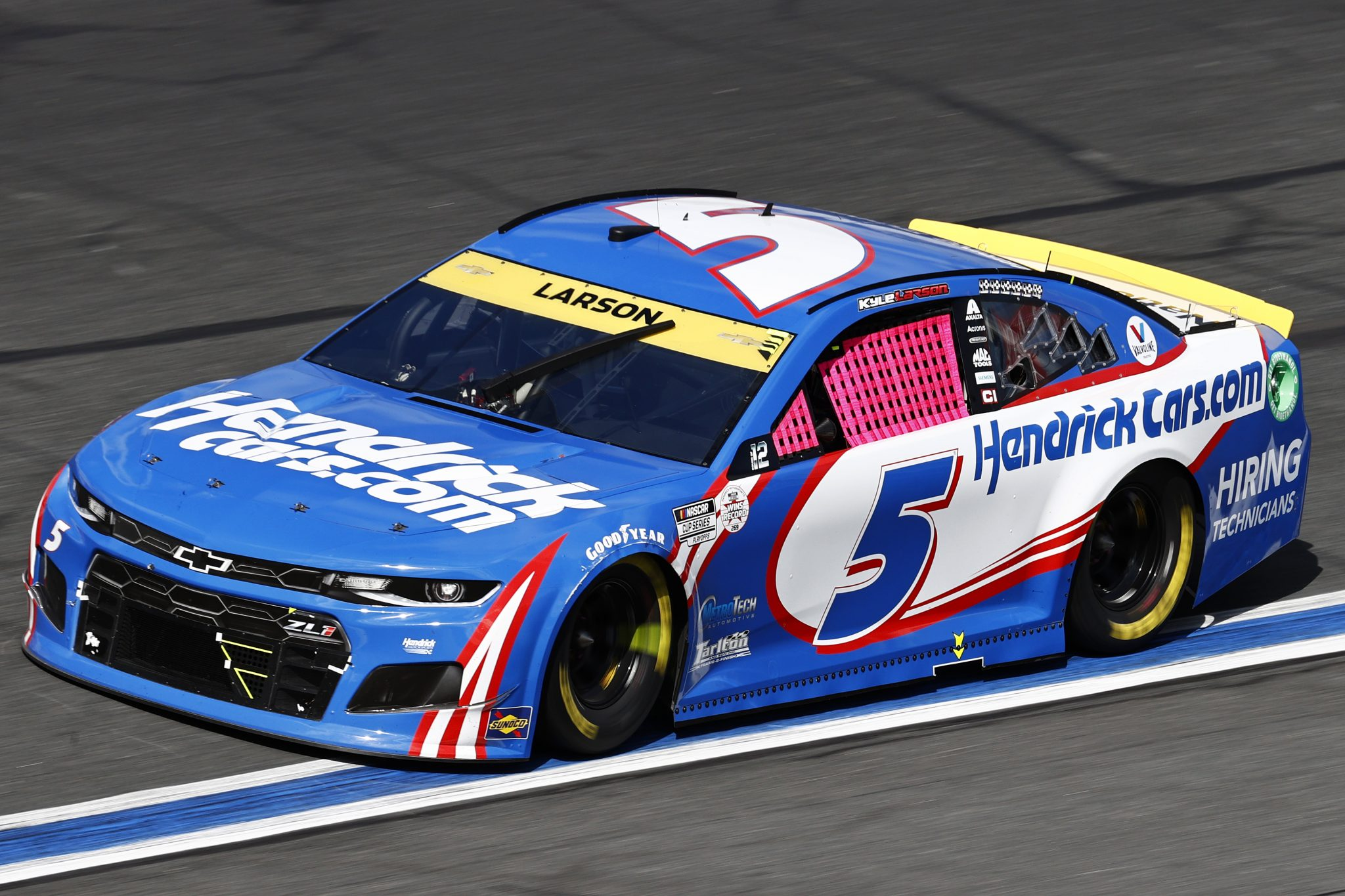 CONCORD, NORTH CAROLINA - OCTOBER 10: Kyle Larson, driver of the #5 HendrickCars.com Chevrolet, drives during the NASCAR Cup Series Bank of America ROVAL 400 at Charlotte Motor Speedway on October 10, 2021 in Concord, North Carolina. (Photo by Jared C. Tilton/Getty Images) | Getty Images
