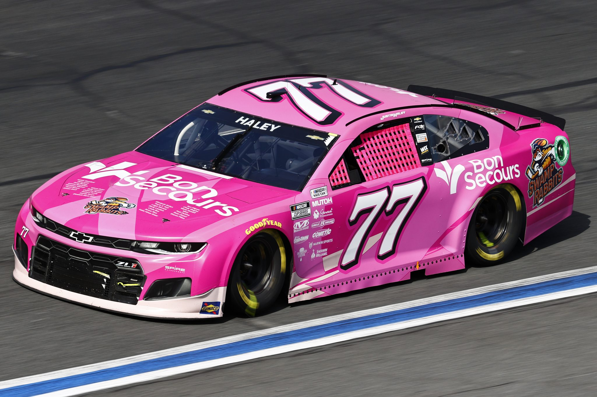 CONCORD, NORTH CAROLINA - OCTOBER 10: Justin Haley, driver of the #77 Bon Secours and Swamp Rabbits Chevrolet, drives during the NASCAR Cup Series Bank of America ROVAL 400 at Charlotte Motor Speedway on October 10, 2021 in Concord, North Carolina. (Photo by Jared C. Tilton/Getty Images) | Getty Images