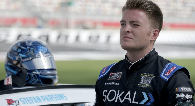 CONCORD, NORTH CAROLINA - MAY 29: Stefan Parsons, driver of the #76 SOKAL Digital Ford, waits on the grid during qualifying for the NASCAR Xfinity Series Alsco Uniforms 300 at Charlotte Motor Speedway on May 29, 2021 in Concord, North Carolina. (Photo by Brian Lawdermilk/Getty Images)   Getty Images