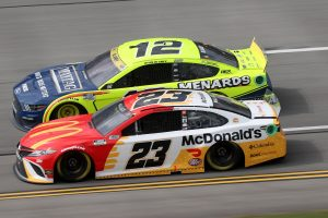 TALLADEGA, ALABAMA - OCTOBER 04: Bubba Wallace, driver of the #23 McDonald's Toyota, races cduring the NASCAR Cup Series YellaWood 500 at Talladega Superspeedway on October 04, 2021 in Talladega, Alabama. (Photo by Chris Graythen/Getty Images)   Getty Images