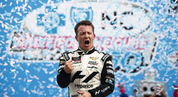 CONCORD, NORTH CAROLINA - OCTOBER 09: AJ Allmendinger, driver of the #16 Hyperice Chevrolet, celebrates in victory lane after winning the NASCAR Xfinity Series Drive for the Cure 250 presented by Blue Cross Blue Shield of North Carolina at Charlotte Motor Speedway on October 09, 2021 in Concord, North Carolina. (Photo by Jared C. Tilton/Getty Images) | Getty Images