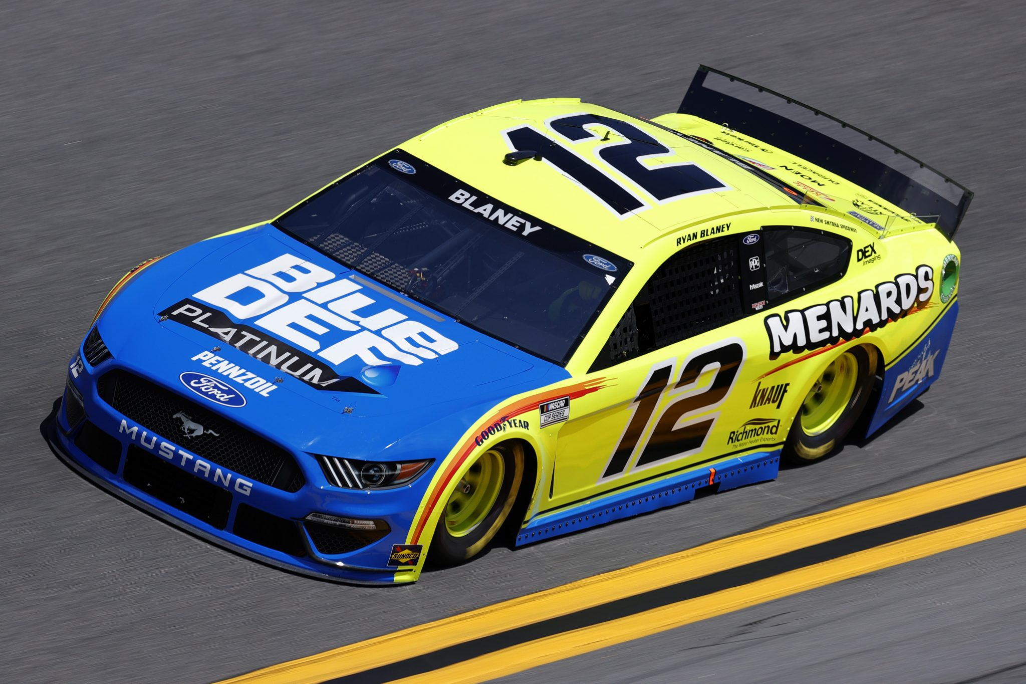 DAYTONA BEACH, FLORIDA - FEBRUARY 10: Ryan Blaney, driver of the #12 Menards/BlueDEF Ford, drives during practice for the NASCAR Cup Series 63rd Annual Daytona 500 at Daytona International Speedway on February 10, 2021 in Daytona Beach, Florida. (Photo by Jared C. Tilton/Getty Images) | Getty Images
