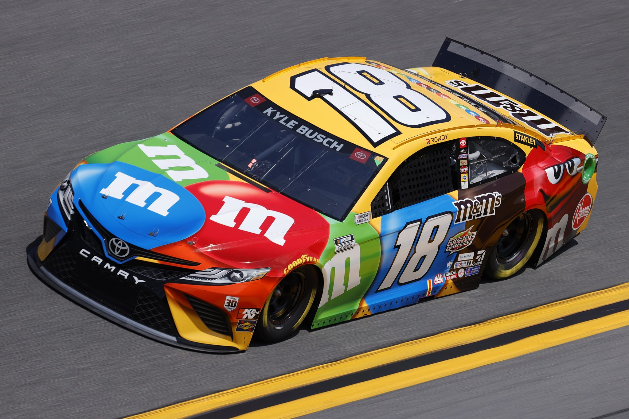 DAYTONA BEACH, FLORIDA - FEBRUARY 10: Kyle Busch, driver of the #18 M&M's Toyota, drives during practice for the NASCAR Cup Series 63rd Annual Daytona 500 at Daytona International Speedway on February 10, 2021 in Daytona Beach, Florida. (Photo by Jared C. Tilton/Getty Images) | Getty Images