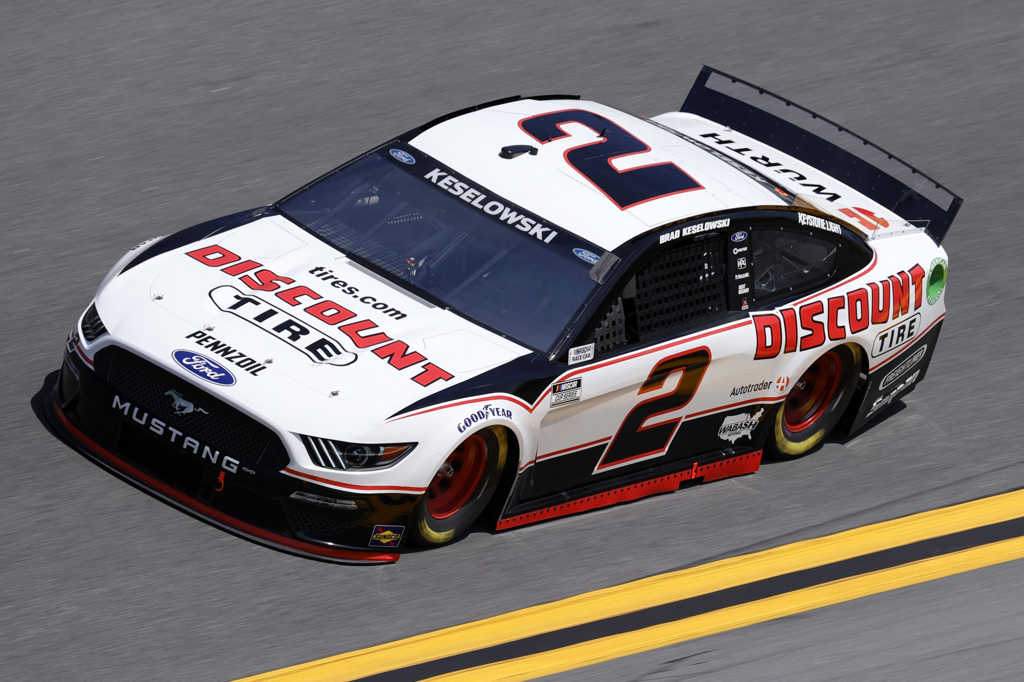 DAYTONA BEACH, FLORIDA - FEBRUARY 10: Brad Keselowski, driver of the #2 Discount Tire Ford, drives during practice for the NASCAR Cup Series 63rd Annual Daytona 500 at Daytona International Speedway on February 10, 2021 in Daytona Beach, Florida. (Photo by Jared C. Tilton/Getty Images) | Getty Images