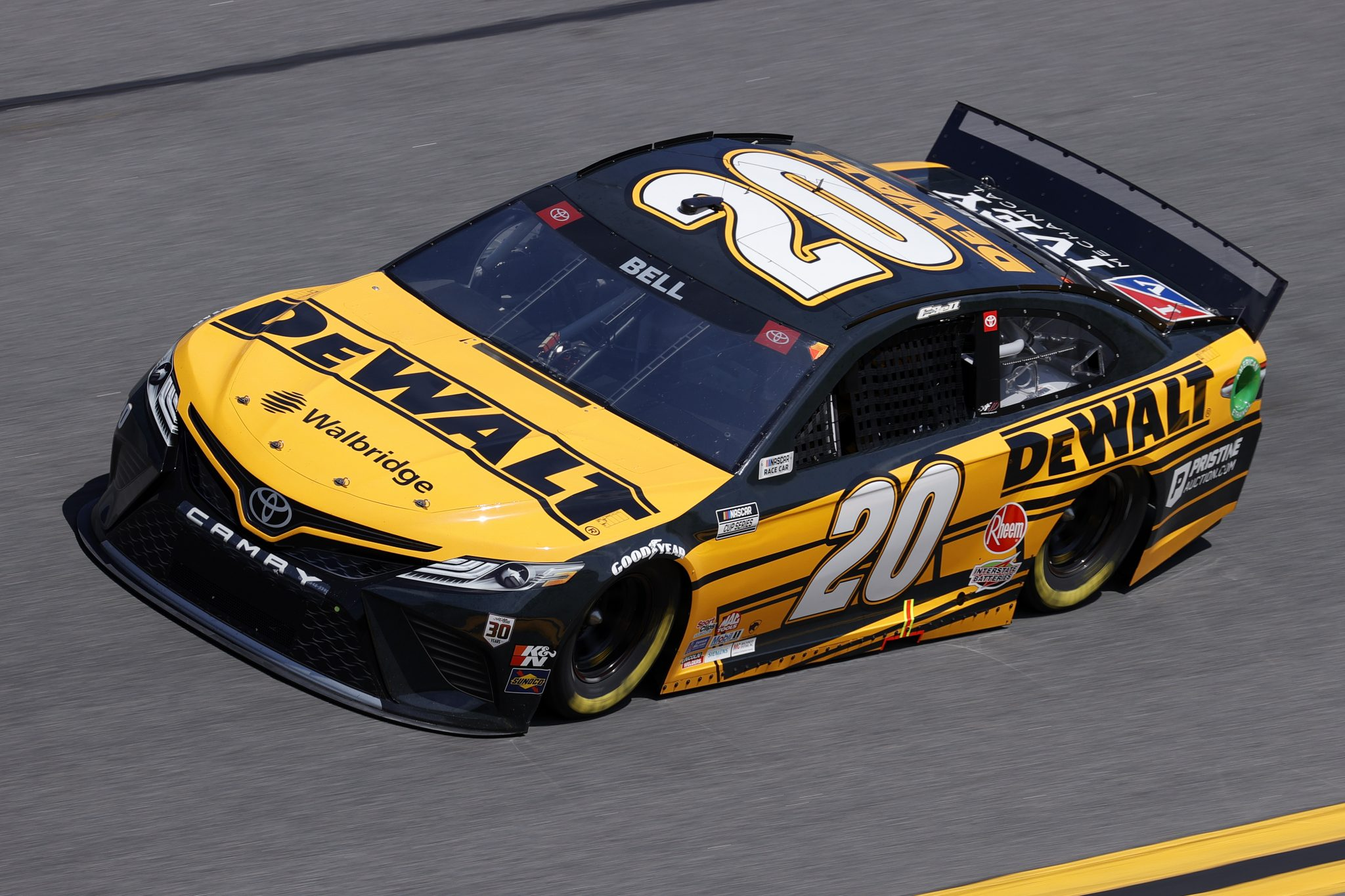 DAYTONA BEACH, FLORIDA - FEBRUARY 10: Christopher Bell, driver of the #20 DEWALT Toyota, drives during practice for the NASCAR Cup Series 63rd Annual Daytona 500 at Daytona International Speedway on February 10, 2021 in Daytona Beach, Florida. (Photo by Jared C. Tilton/Getty Images) | Getty Images