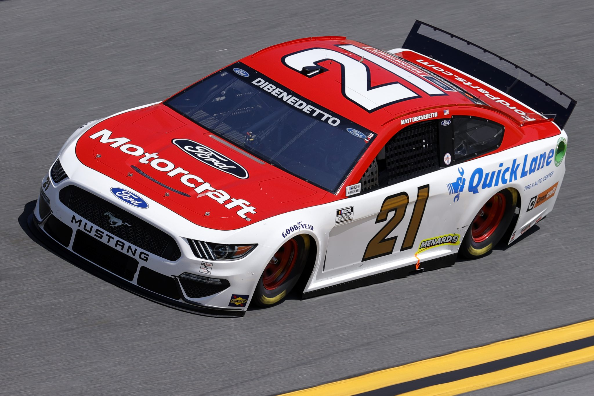 DAYTONA BEACH, FLORIDA - FEBRUARY 10: Matt DiBenedetto, driver of the #21 Motorcraft/Quick Lane Ford, drives during practice for the NASCAR Cup Series 63rd Annual Daytona 500 at Daytona International Speedway on February 10, 2021 in Daytona Beach, Florida. (Photo by Jared C. Tilton/Getty Images) | Getty Images
