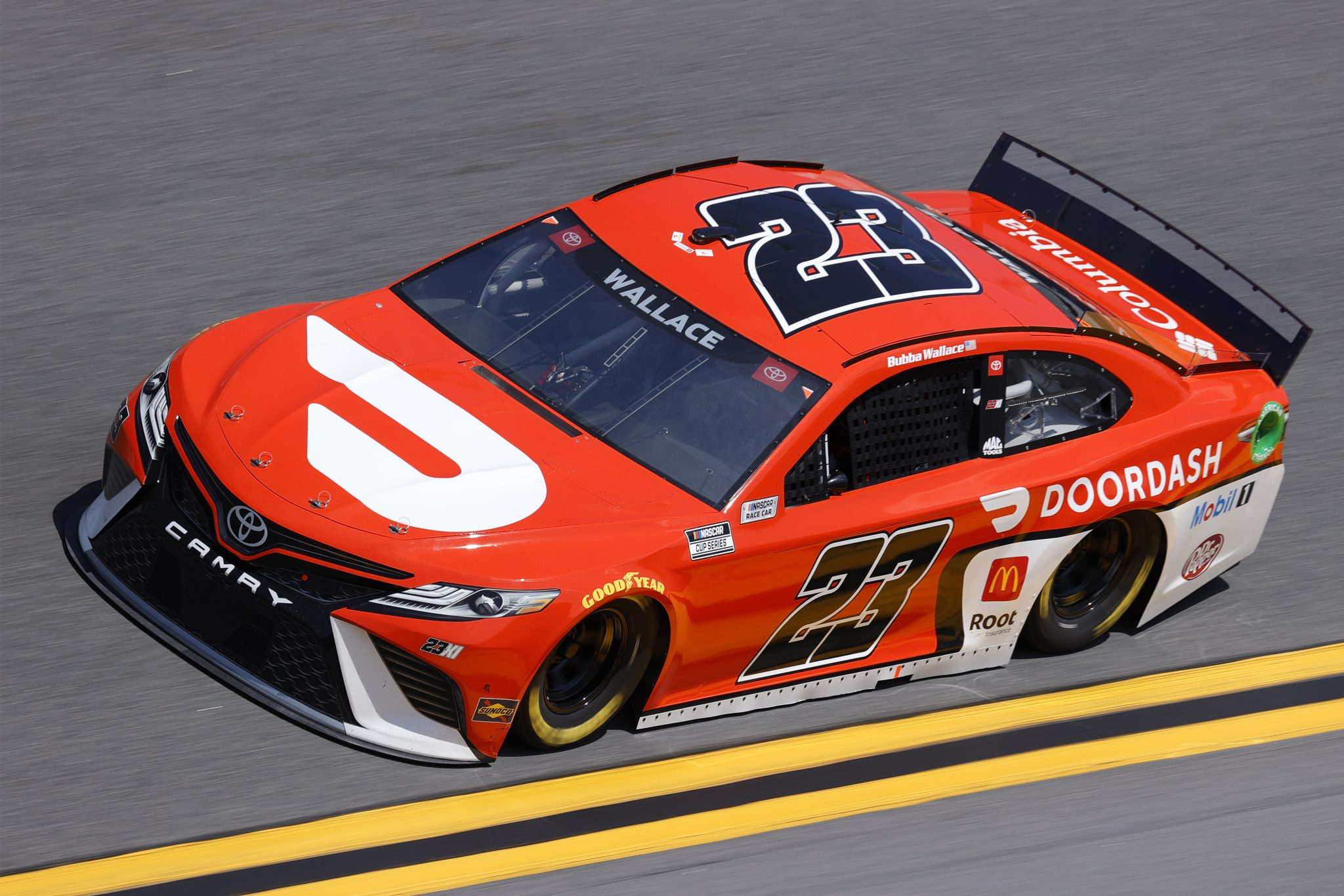 DAYTONA BEACH, FLORIDA - FEBRUARY 10: Bubba Wallace, driver of the #23 DoorDash Toyota, drives during practice for the NASCAR Cup Series 63rd Annual Daytona 500 at Daytona International Speedway on February 10, 2021 in Daytona Beach, Florida. (Photo by Jared C. Tilton/Getty Images) | Getty Images