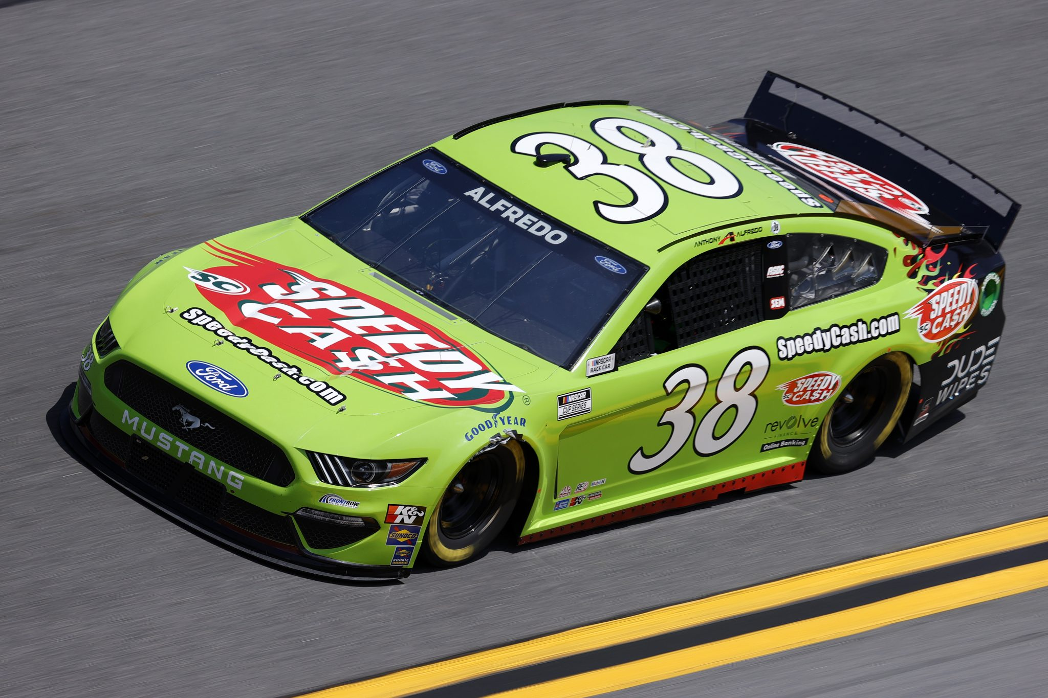 DAYTONA BEACH, FLORIDA - FEBRUARY 10: Anthony Alfredo, driver of the #38 Speedy Cash Ford, drives during practice for the NASCAR Cup Series 63rd Annual Daytona 500 at Daytona International Speedway on February 10, 2021 in Daytona Beach, Florida. (Photo by Jared C. Tilton/Getty Images) | Getty Images