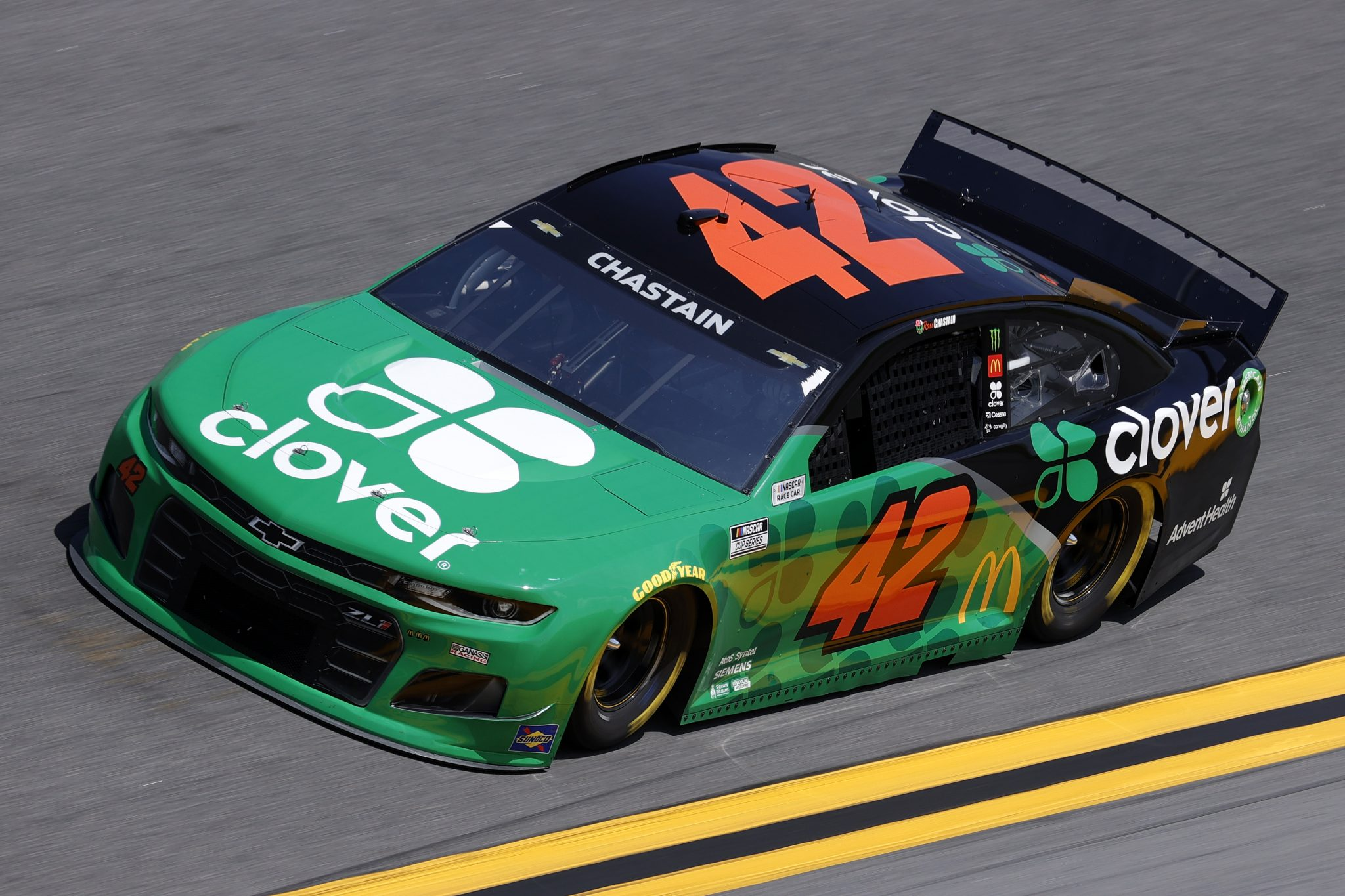 DAYTONA BEACH, FLORIDA - FEBRUARY 10: Ross Chastain, driver of the #42 Clover Chevrolet, drives during practice for the NASCAR Cup Series 63rd Annual Daytona 500 at Daytona International Speedway on February 10, 2021 in Daytona Beach, Florida. (Photo by Jared C. Tilton/Getty Images) | Getty Images