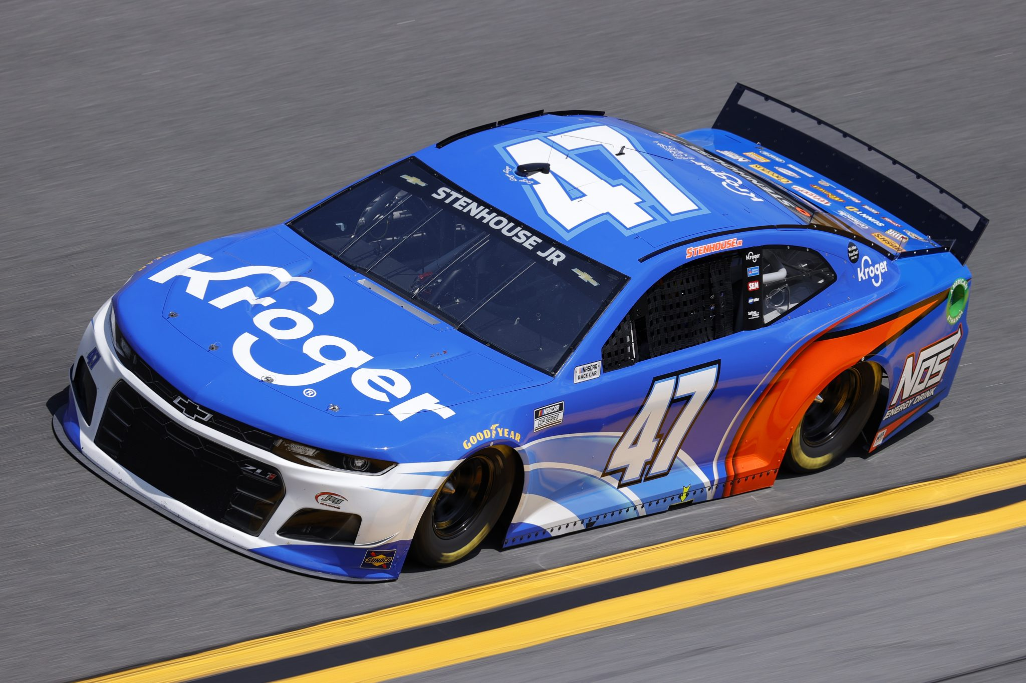 DAYTONA BEACH, FLORIDA - FEBRUARY 10: Ricky Stenhouse Jr., driver of the #47 Kroger/NOS Energy Drink Chevrolet, drives during practice for the NASCAR Cup Series 63rd Annual Daytona 500 at Daytona International Speedway on February 10, 2021 in Daytona Beach, Florida. (Photo by Jared C. Tilton/Getty Images) | Getty Images