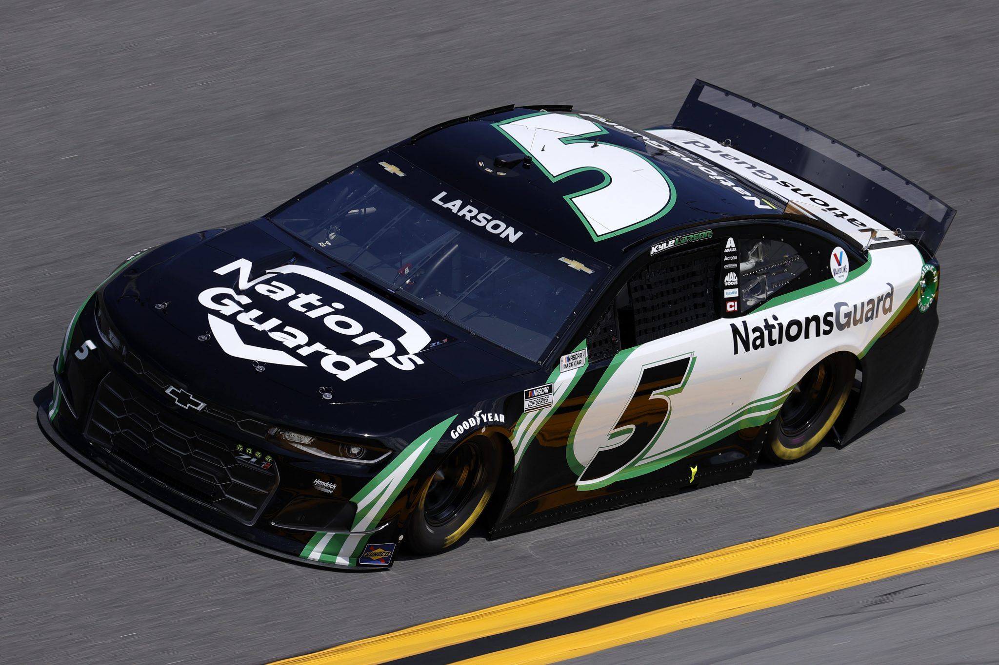DAYTONA BEACH, FLORIDA - FEBRUARY 10: Kyle Larson, driver of the #23 National Guard Chevrolet, drives during practice for the NASCAR Cup Series 63rd Annual Daytona 500 at Daytona International Speedway on February 10, 2021 in Daytona Beach, Florida. (Photo by Jared C. Tilton/Getty Images) | Getty Images