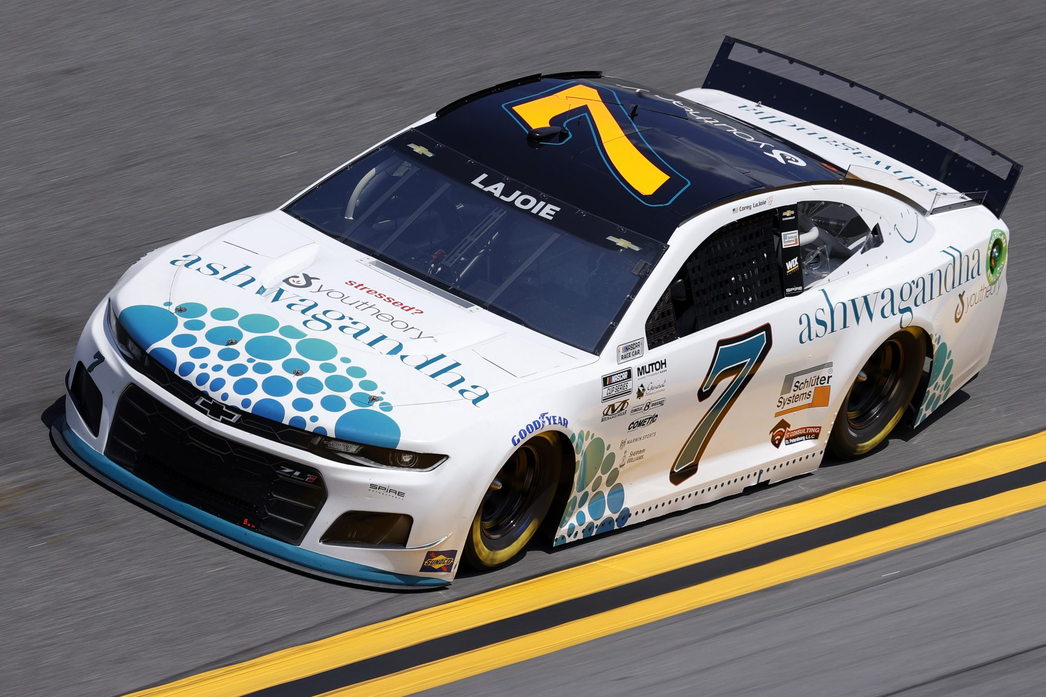 DAYTONA BEACH, FLORIDA - FEBRUARY 10: Corey LaJoie, driver of the #7 Youtheory Chevrolet, drives during practice for the NASCAR Cup Series 63rd Annual Daytona 500 at Daytona International Speedway on February 10, 2021 in Daytona Beach, Florida. (Photo by Jared C. Tilton/Getty Images) | Getty Images