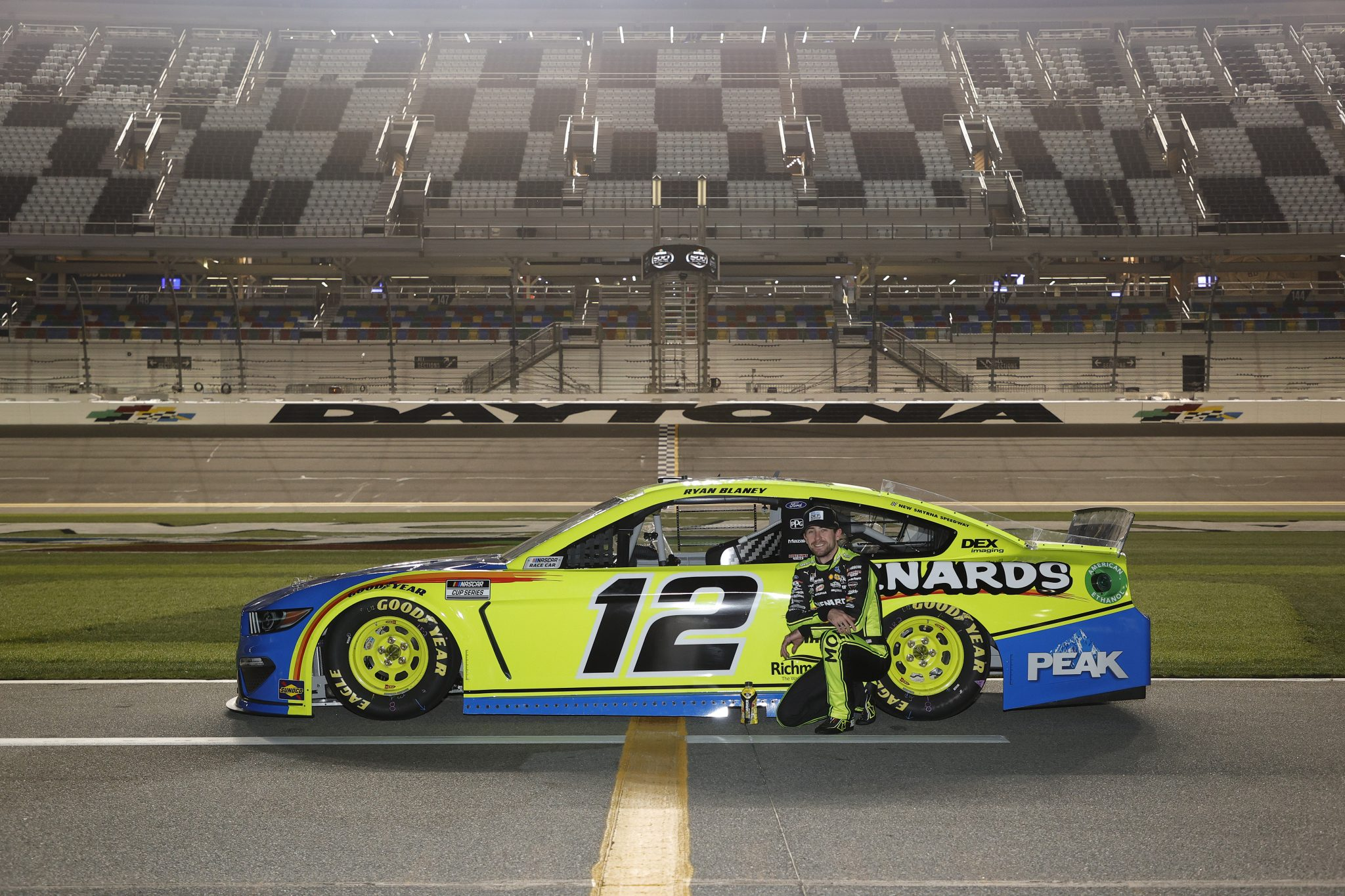 DAYTONA BEACH, FLORIDA - FEBRUARY 10: Ryan Blaney, driver of the #12 Menards/Blue DEF/PEAK Ford, poses for photos during qualifying for the NASCAR Cup Series 63rd Annual Daytona 500 at Daytona International Speedway on February 10, 2021 in Daytona Beach, Florida. (Photo by Jared C. Tilton/Getty Images) | Getty Images
