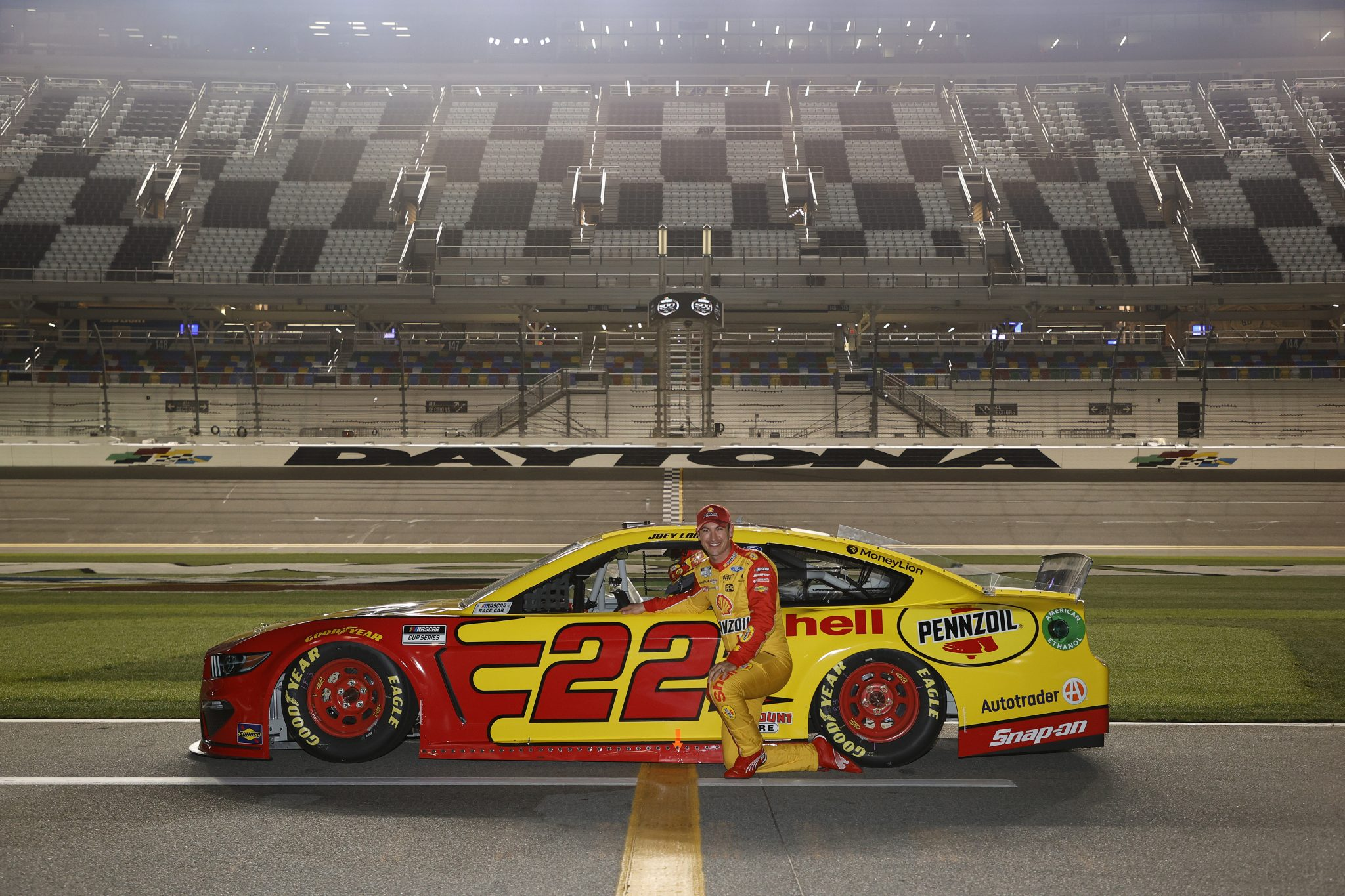 DAYTONA BEACH, FLORIDA - FEBRUARY 10: Joey Logano, driver of the #22 Shell Pennzoil Ford, poses for photos during qualifying for the NASCAR Cup Series 63rd Annual Daytona 500 at Daytona International Speedway on February 10, 2021 in Daytona Beach, Florida. (Photo by Jared C. Tilton/Getty Images) | Getty Images