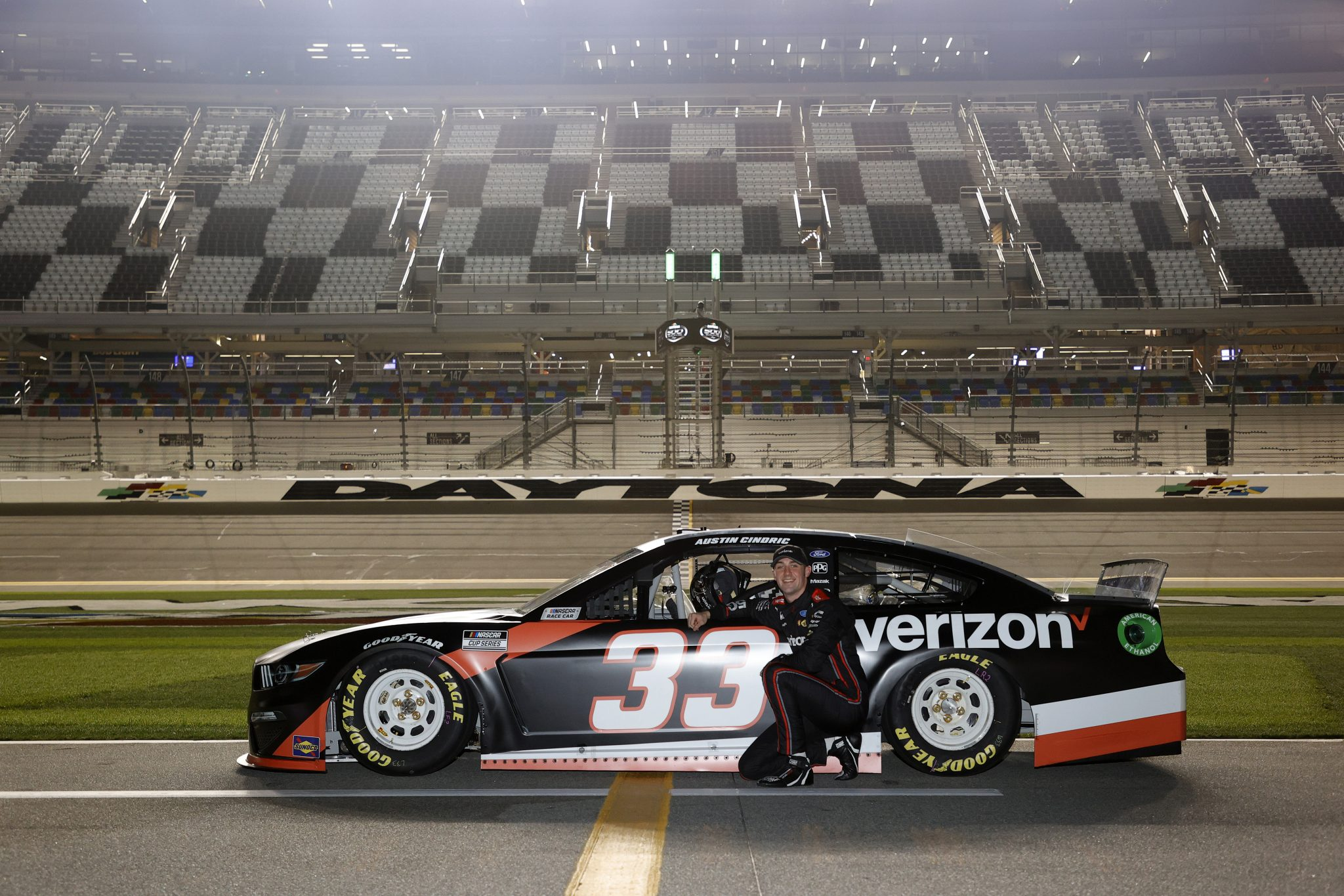 DAYTONA BEACH, FLORIDA - FEBRUARY 10: Austin Cindric, driver of the #33 Verizon 5G Ford, poses for photos during qualifying for the NASCAR Cup Series 63rd Annual Daytona 500 at Daytona International Speedway on February 10, 2021 in Daytona Beach, Florida. (Photo by Jared C. Tilton/Getty Images) | Getty Images