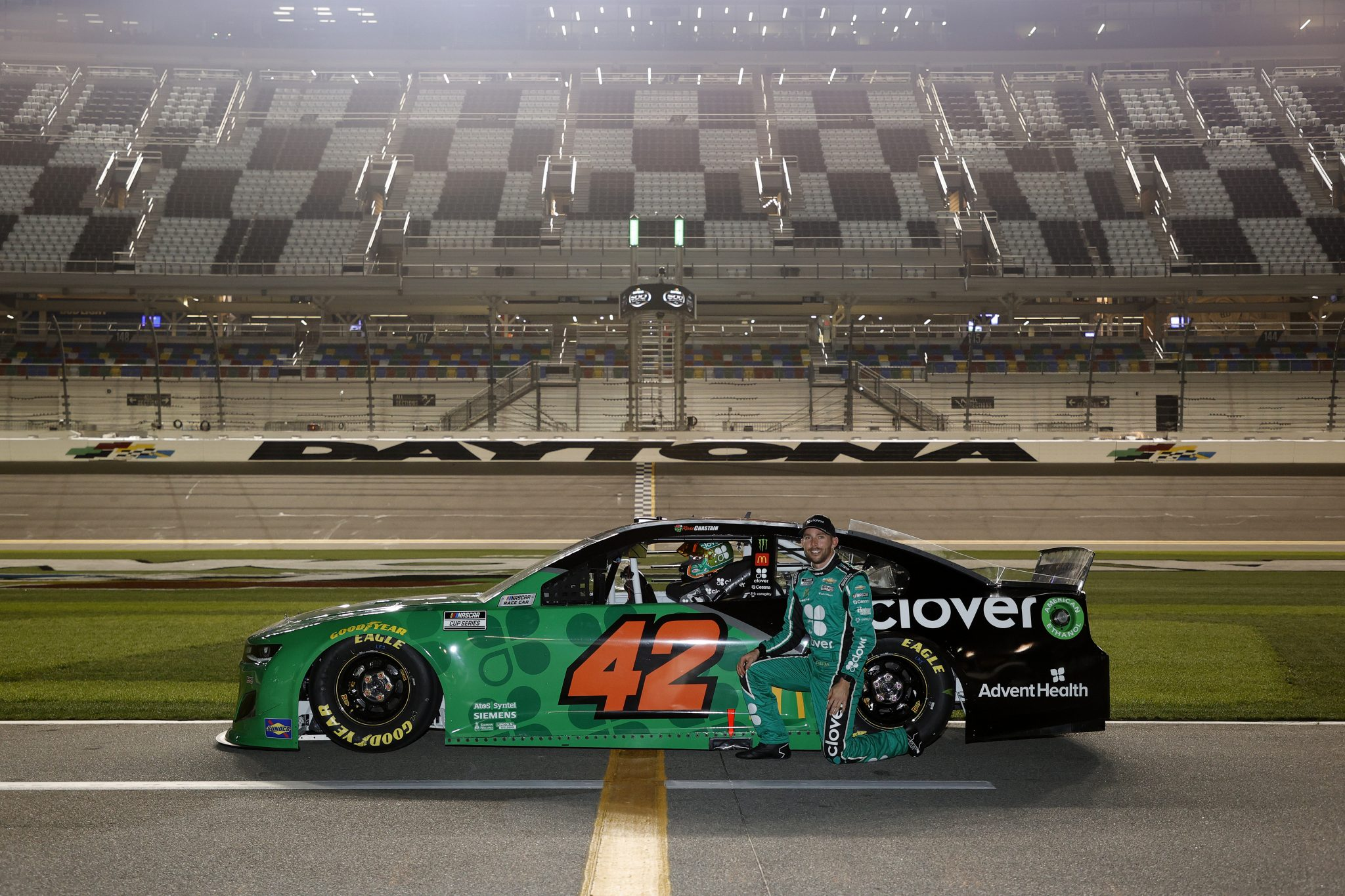 DAYTONA BEACH, FLORIDA - FEBRUARY 10: Ross Chastain, driver of the #42 Clover Chevrolet, poses for photos during qualifying for the NASCAR Cup Series 63rd Annual Daytona 500 at Daytona International Speedway on February 10, 2021 in Daytona Beach, Florida. (Photo by Jared C. Tilton/Getty Images) | Getty Images