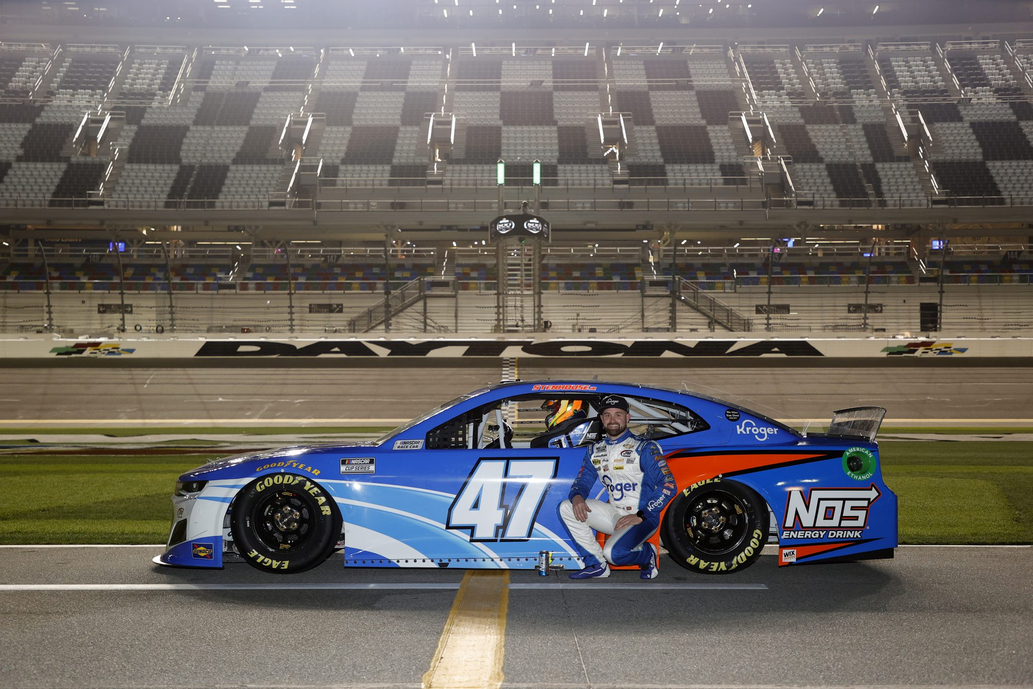 DAYTONA BEACH, FLORIDA - FEBRUARY 10: Ricky Stenhouse Jr., driver of the #47 Kroger/NOS Energy Drink Chevrolet, poses for photos during qualifying for the NASCAR Cup Series 63rd Annual Daytona 500 at Daytona International Speedway on February 10, 2021 in Daytona Beach, Florida. (Photo by Jared C. Tilton/Getty Images) | Getty Images