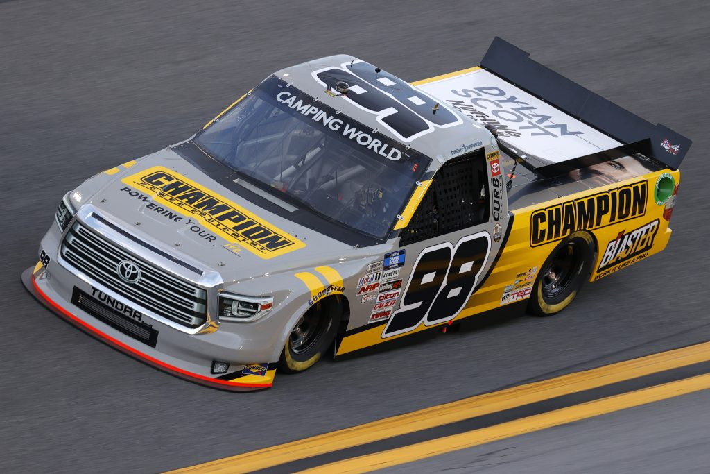DAYTONA BEACH, FLORIDA - FEBRUARY 11: Grant Enfinger, driver of the #98 Champion/Curb Records Toyota, practices for the NASCAR Camping World Truck Series NextEra Energy 250 at Daytona International Speedway on February 11, 2021 in Daytona Beach, Florida. (Photo by Jared C. Tilton/Getty Images) | Getty Images