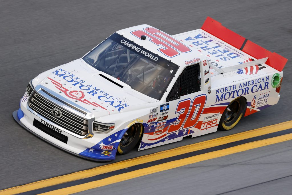 DAYTONA BEACH, FLORIDA - FEBRUARY 11: Danny Bohn, driver of the #30 North American Motor Car Toyota, practices for the NASCAR Camping World Truck Series NextEra Energy 250 at Daytona International Speedway on February 11, 2021 in Daytona Beach, Florida. (Photo by Jared C. Tilton/Getty Images) | Getty Images