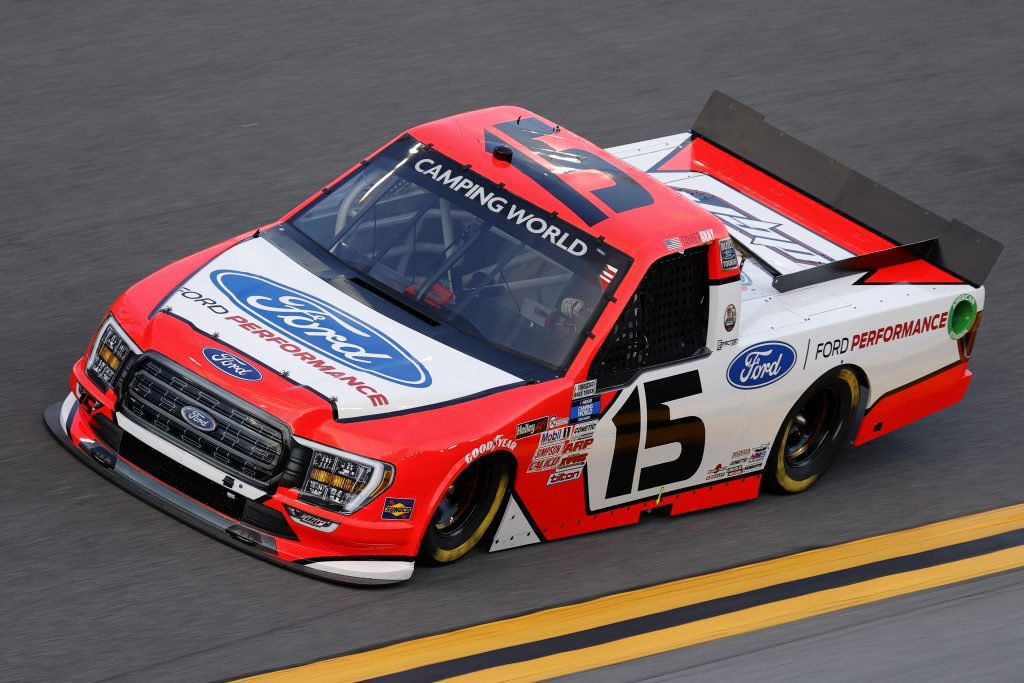 DAYTONA BEACH, FLORIDA - FEBRUARY 11: Tanner Gray, driver of the #15 Ford Performance Ford, practices for the NASCAR Camping World Truck Series NextEra Energy 250 at Daytona International Speedway on February 11, 2021 in Daytona Beach, Florida. (Photo by Jared C. Tilton/Getty Images) | Getty Images