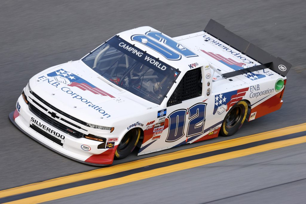 DAYTONA BEACH, FLORIDA - FEBRUARY 11: Kris Wright, driver of the #02 First National Bank Chevrolet, practices for the NASCAR Camping World Truck Series NextEra Energy 250 at Daytona International Speedway on February 11, 2021 in Daytona Beach, Florida. (Photo by Jared C. Tilton/Getty Images) | Getty Images
