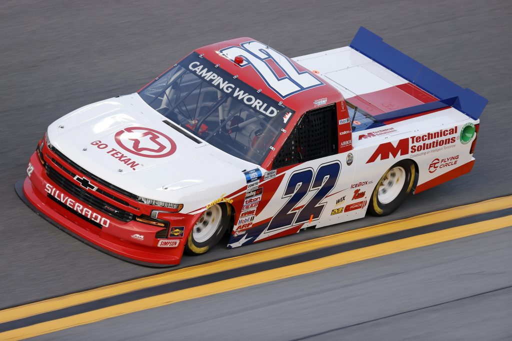 DAYTONA BEACH, FLORIDA - FEBRUARY 11: Austin Wayne Self, driver of the #22 GO TEXAN/AM Technical Solutions Chevrolet, practices for the NASCAR Camping World Truck Series NextEra Energy 250 at Daytona International Speedway on February 11, 2021 in Daytona Beach, Florida. (Photo by Jared C. Tilton/Getty Images) | Getty Images