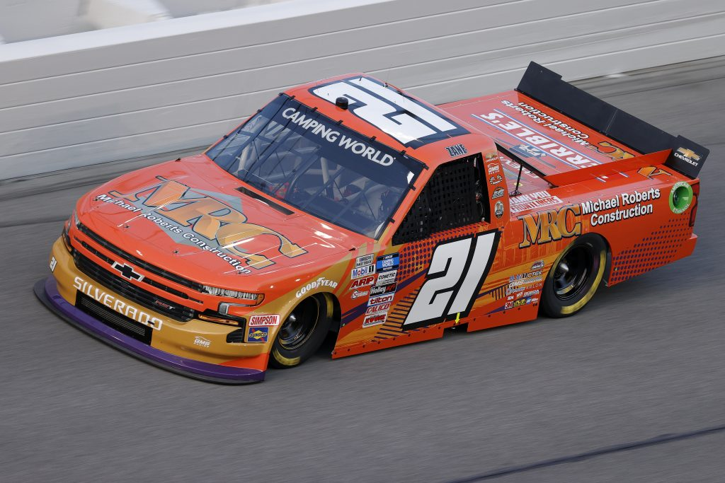 DAYTONA BEACH, FLORIDA - FEBRUARY 11: Zane Smith, driver of the #21 MRC Construction Chevrolet, practices for the NASCAR Camping World Truck Series NextEra Energy 250 at Daytona International Speedway on February 11, 2021 in Daytona Beach, Florida. (Photo by Jared C. Tilton/Getty Images) | Getty Images