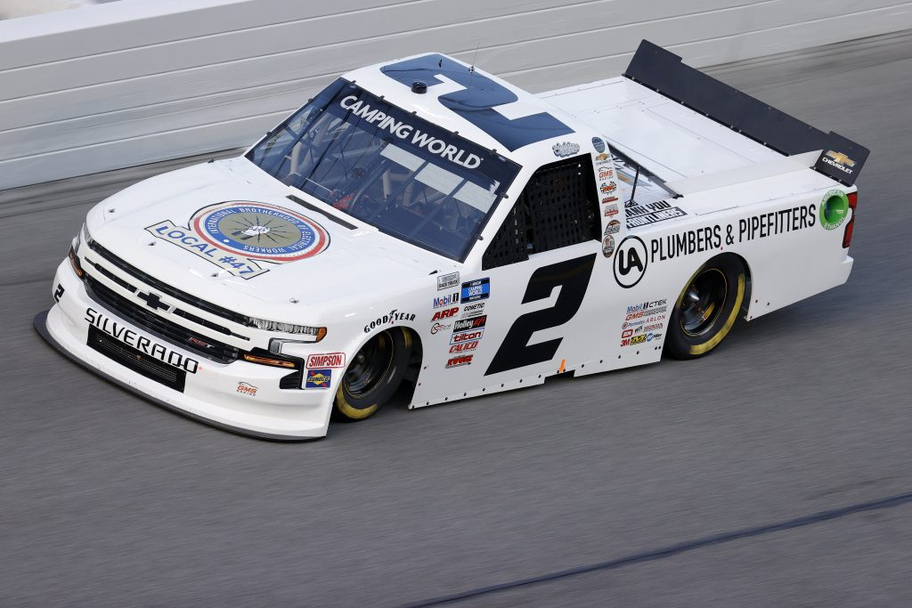 DAYTONA BEACH, FLORIDA - FEBRUARY 11: Sheldon Creed, driver of the #2 I.B.E.W. Chevrolet, practices for the NASCAR Camping World Truck Series NextEra Energy 250 at Daytona International Speedway on February 11, 2021 in Daytona Beach, Florida. (Photo by Jared C. Tilton/Getty Images) | Getty Images