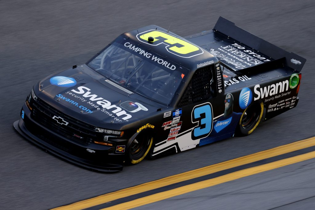 DAYTONA BEACH, FLORIDA - FEBRUARY 11: Jordan Anderson, driver of the #3 Swann Security Chevrolet, practices for the NASCAR Camping World Truck Series NextEra Energy 250 at Daytona International Speedway on February 11, 2021 in Daytona Beach, Florida. (Photo by Jared C. Tilton/Getty Images) | Getty Images