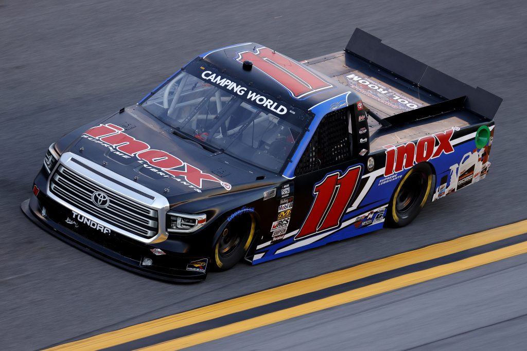 DAYTONA BEACH, FLORIDA - FEBRUARY 11: Spencer Davis, driver of the #11 Inox Supreme Lubricants Toyota, practices for the NASCAR Camping World Truck Series NextEra Energy 250 at Daytona International Speedway on February 11, 2021 in Daytona Beach, Florida. (Photo by Jared C. Tilton/Getty Images) | Getty Images